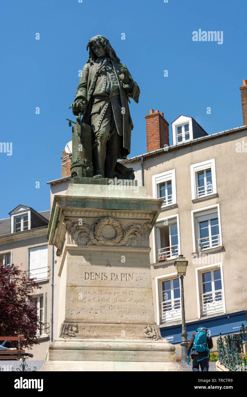 Statue of Denis Papin in Blois - Stock Image
