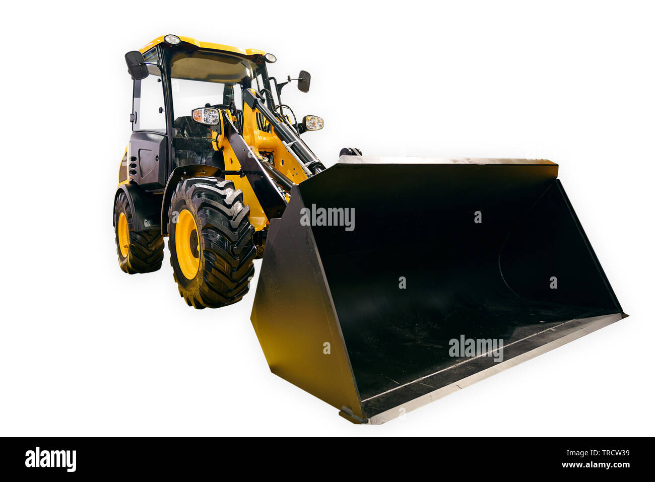 New generic yellow loader excavator isolated on a white background - Stock Image