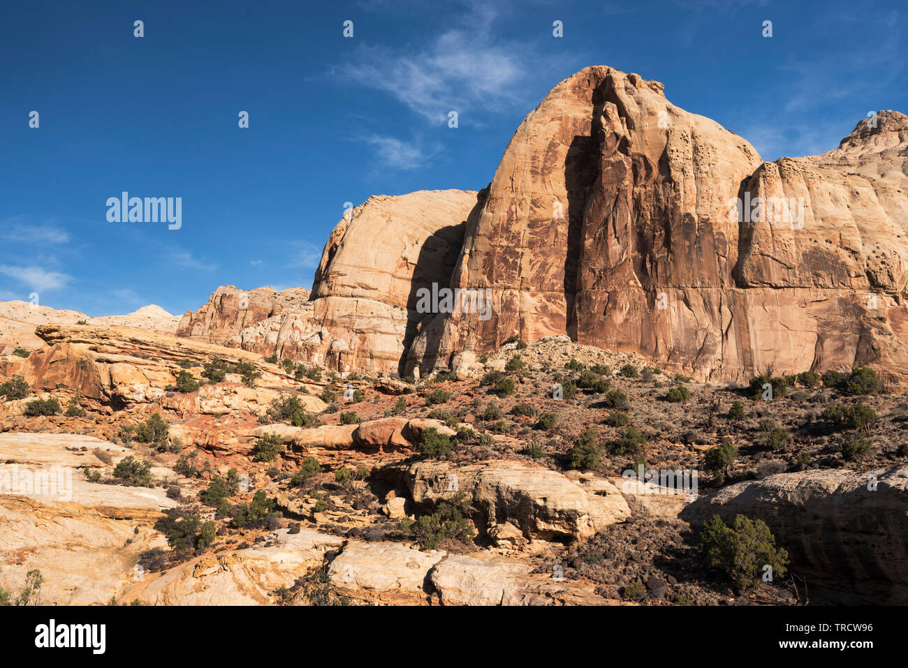 Navajo Dome is a large sandstone monolith located in Capital Reef National Park, Utah. Stock Photo