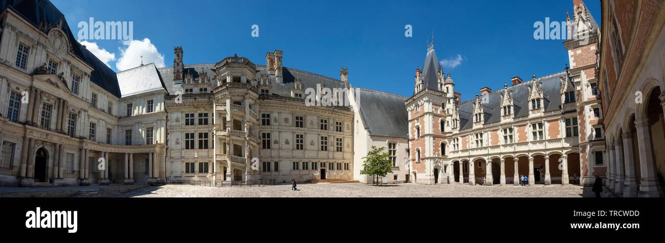 Panoramic view of the three wings of Blois castle, Blois, Loire-et-Cher department, Centre-Val de Loire, France, Europe - Stock Image