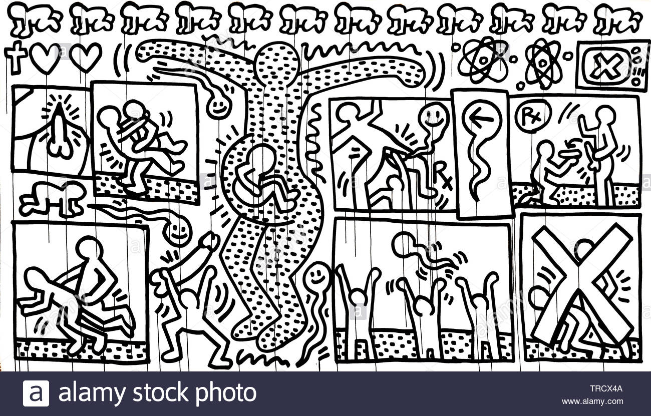 Keith Allen Haring, American artist whose pop art and graffiti-like work grew out of the New York City street culture, United States of America,USA, Stock Photo