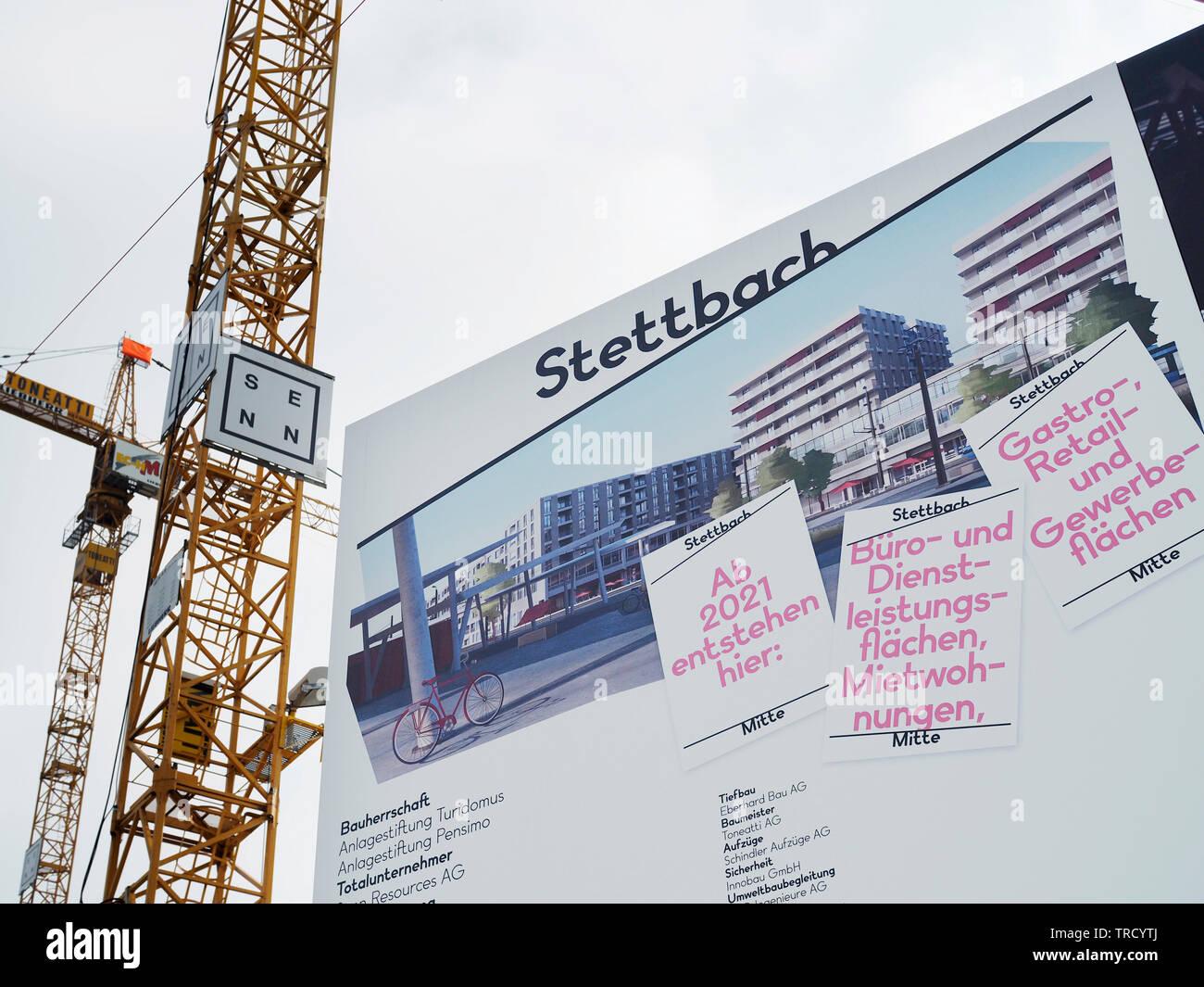 Baustelle Stettbach Mitte beim Bahnhof Stettbach, Zürich, Schweiz - Stock Image