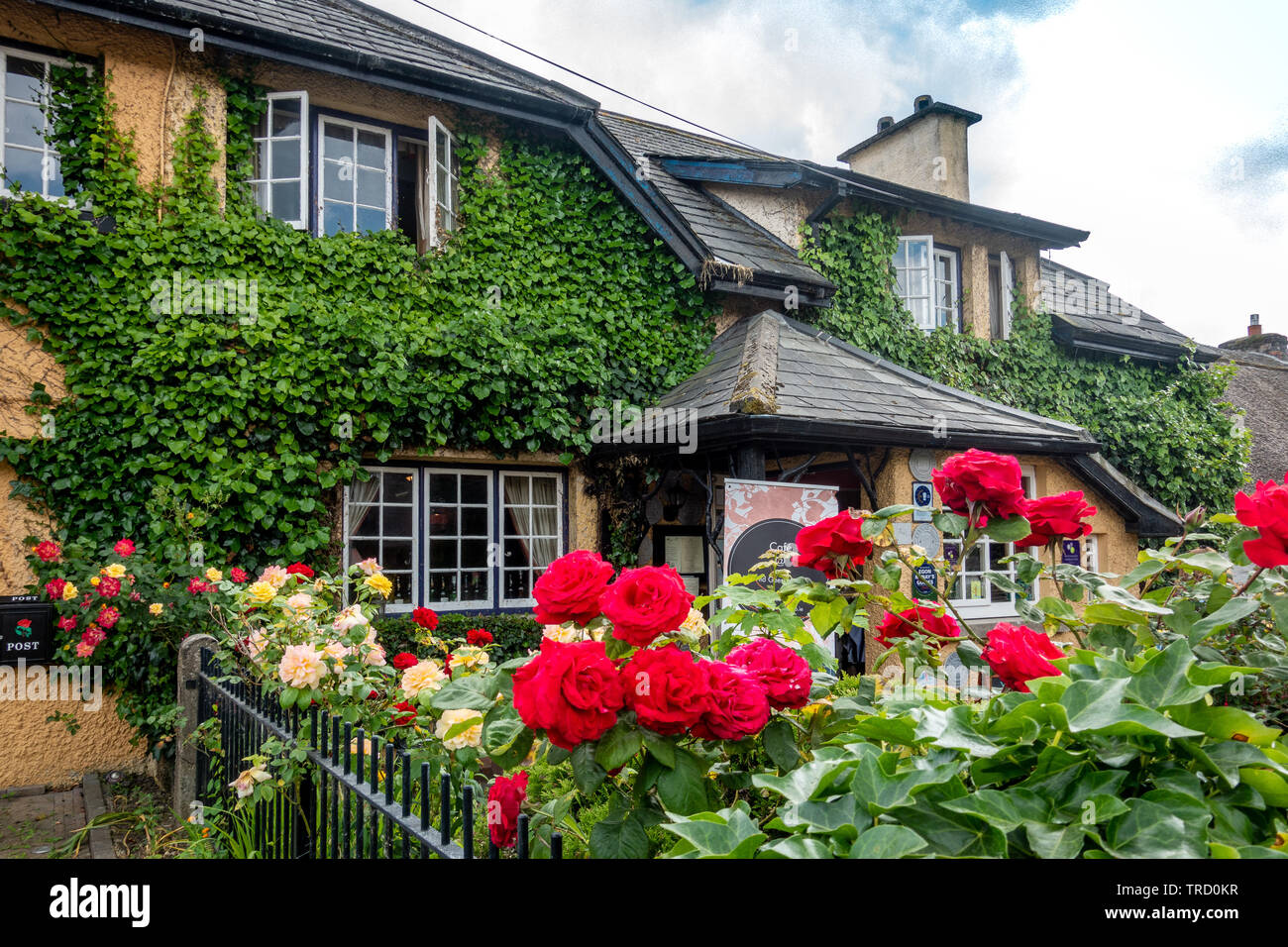 Dunraven Arms Hotel in Adare, Ireland - Considered One of Ireland's Prettiest Towns - Stock Image