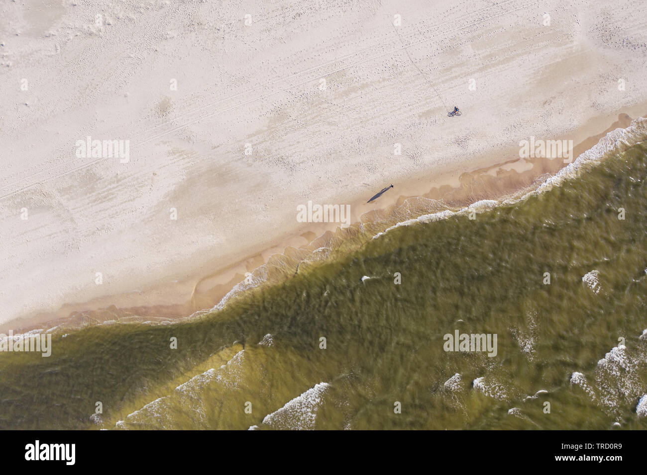 Aerial photography of the Baltic Sea beach, northern Poland/Germany. Stock Photo