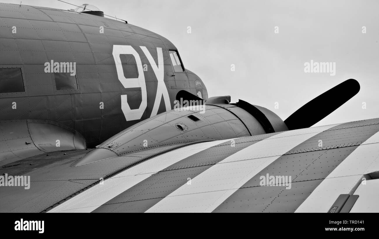 C-47 N150D (101st Airbourne tribute) at the 2019 Shuttleworth Flying Festival to commemorate the 75th anniversary of D-Day Stock Photo