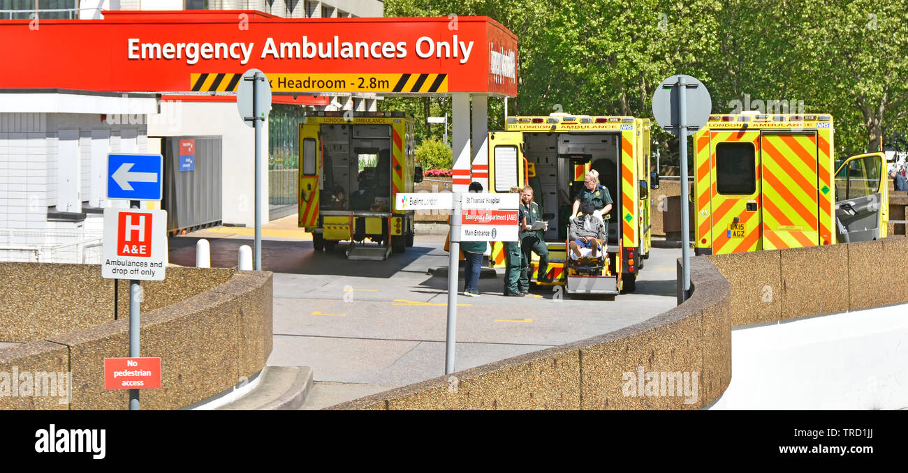 NHS stretcher patient transferred from back of London emergency ambulance by caring paramedic staff at work in A&E accident facility at UK hospital - Stock Image