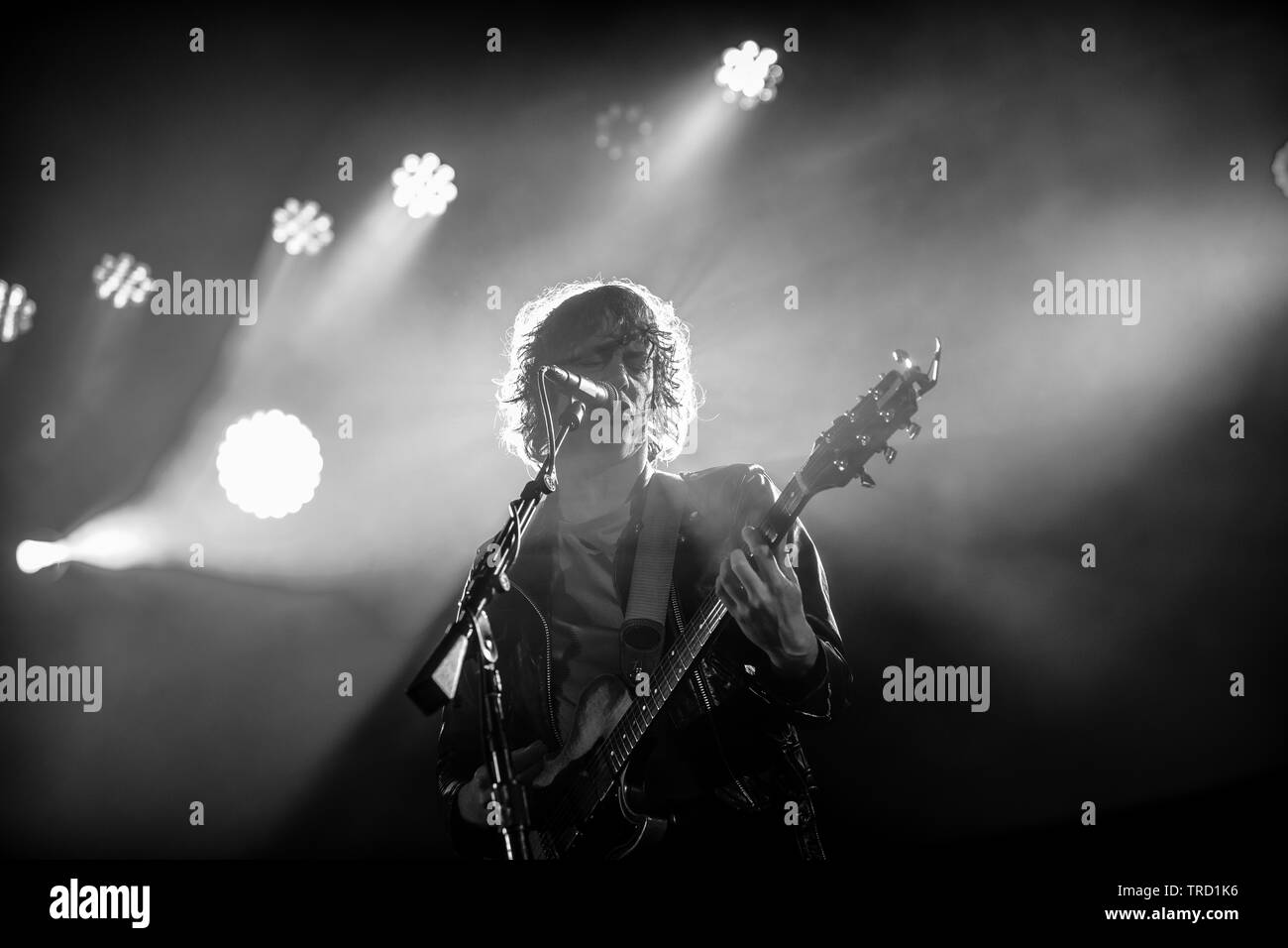 Lead singer and guitarist of Razorlight Johnny Borrell performing at Run Fest Run festival at Bowood House & Gardens, Wiltshire. - Stock Image