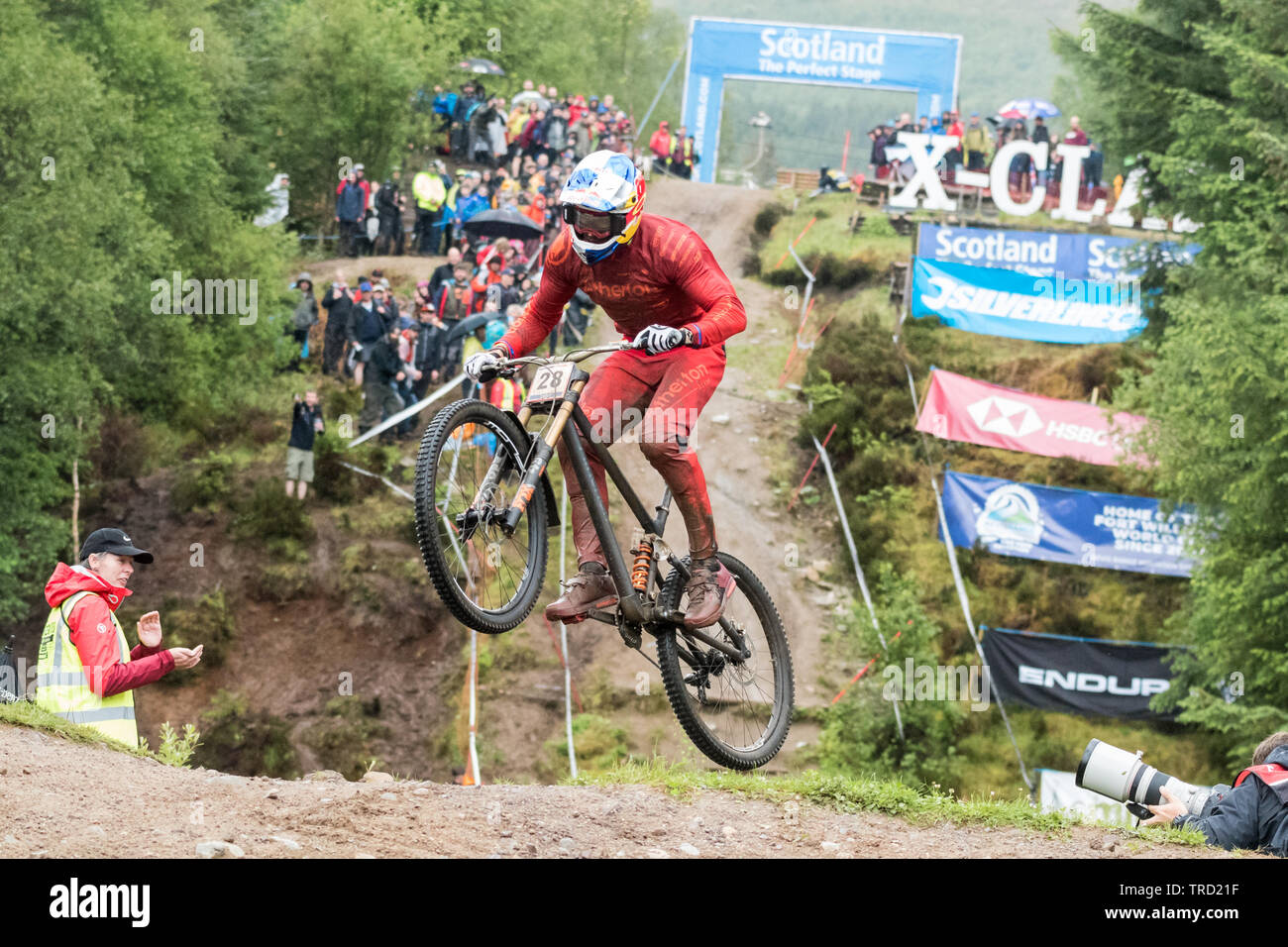 Gee Atherton racing in the UCI Mountain Bike World Cup 2019 Stage 2 elite men's final, Fort William, Scotland, UK - Stock Image