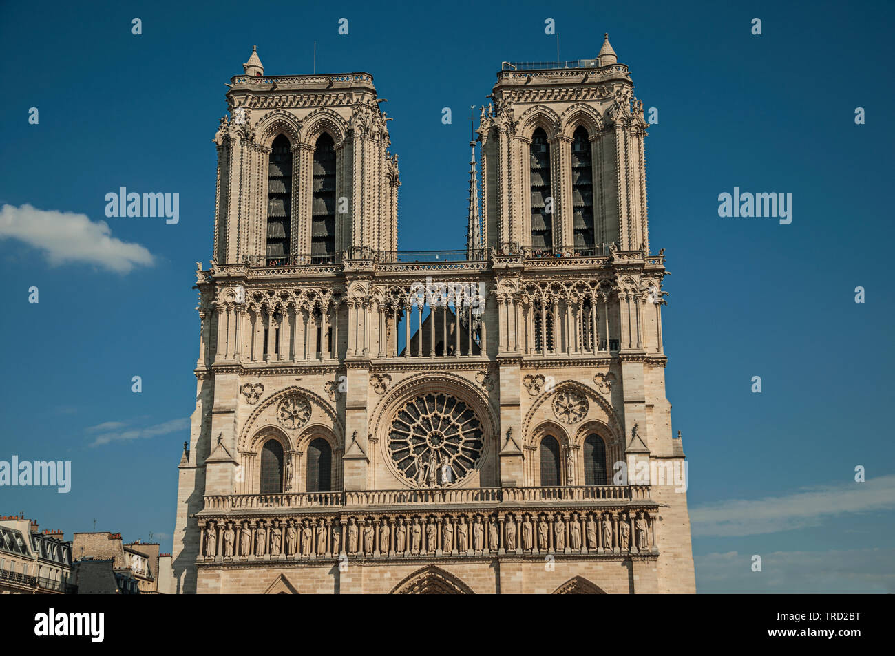 Towers And Ornament On Facade Of Gothic Notre Dame Cathedral