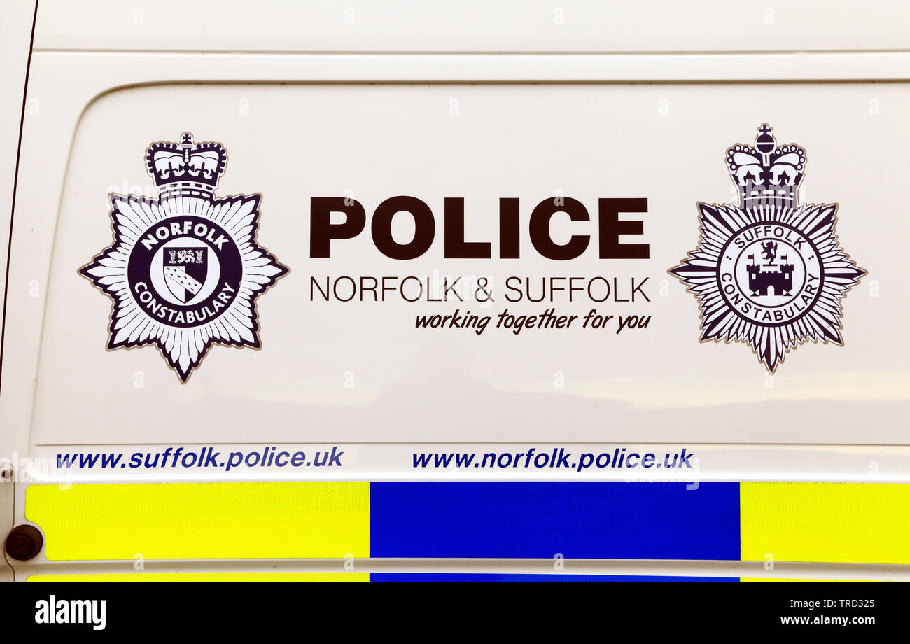 Norfolk and Suffolk Constabulary, Police Vehicle, Riot Van, joint forces, logo, badge, insignia, UK - Stock Image