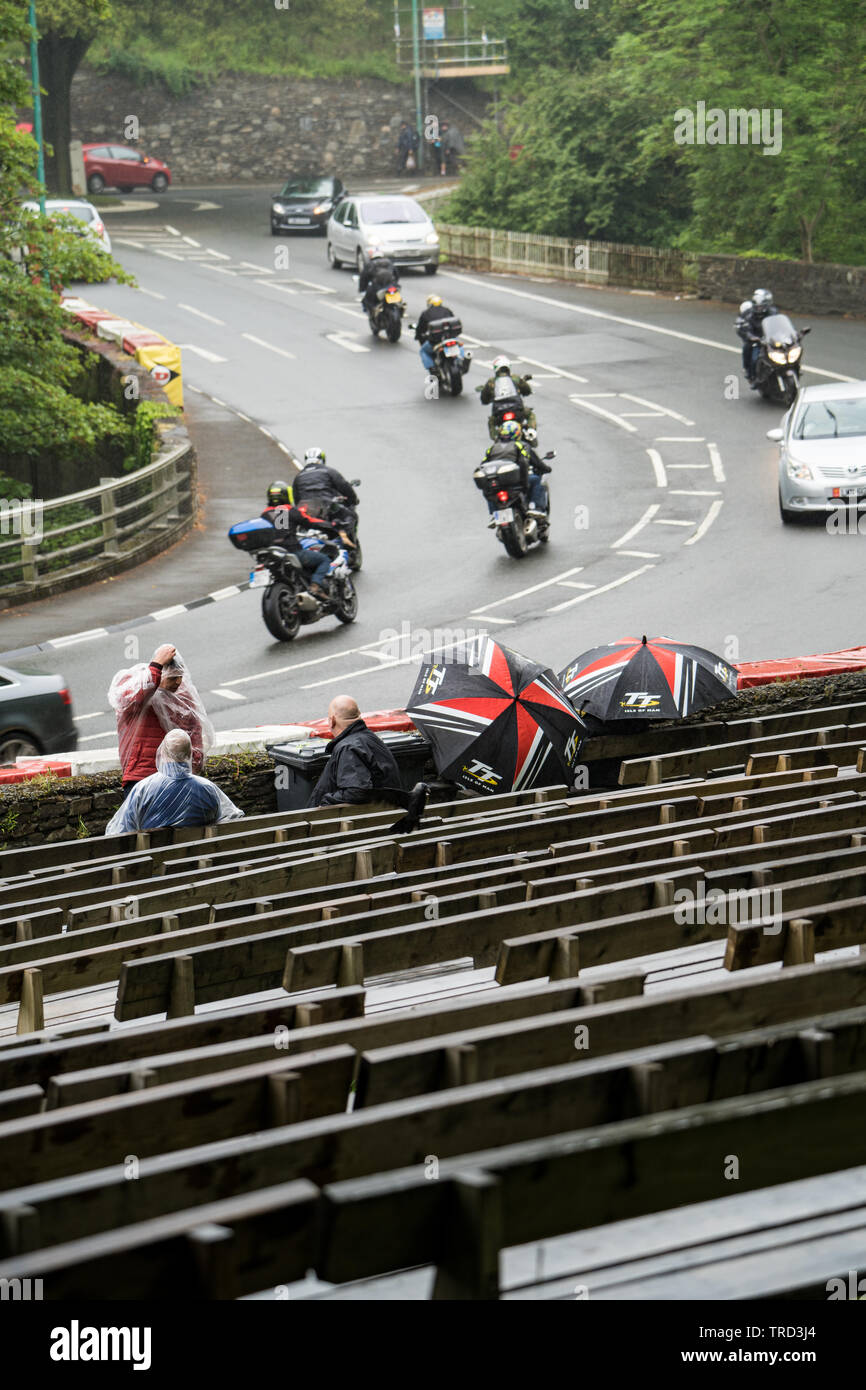 Isle of Man TT (IOM TT) 2019 practice and racing stopped due to rain and bad weather Stock Photo