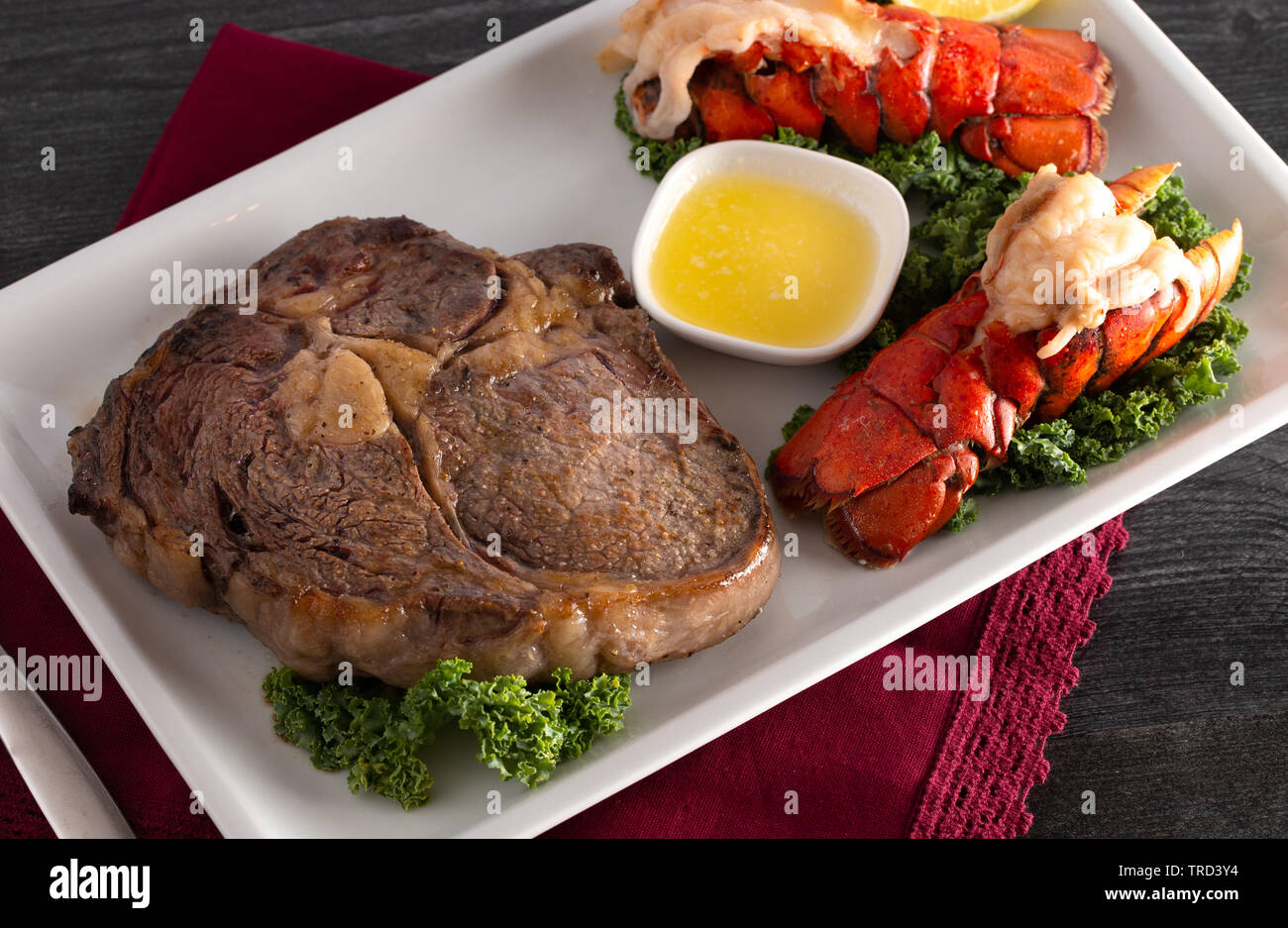 Steak and Lobster Tails Stock Photo ...