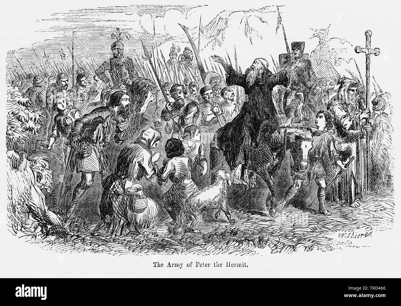 The Army of Peter the Hermit, Illustration from John Cassell's Illustrated History of England, Vol. I from the earliest period to the reign of Edward the Fourth, Cassell, Petter and Galpin, 1857 - Stock Image