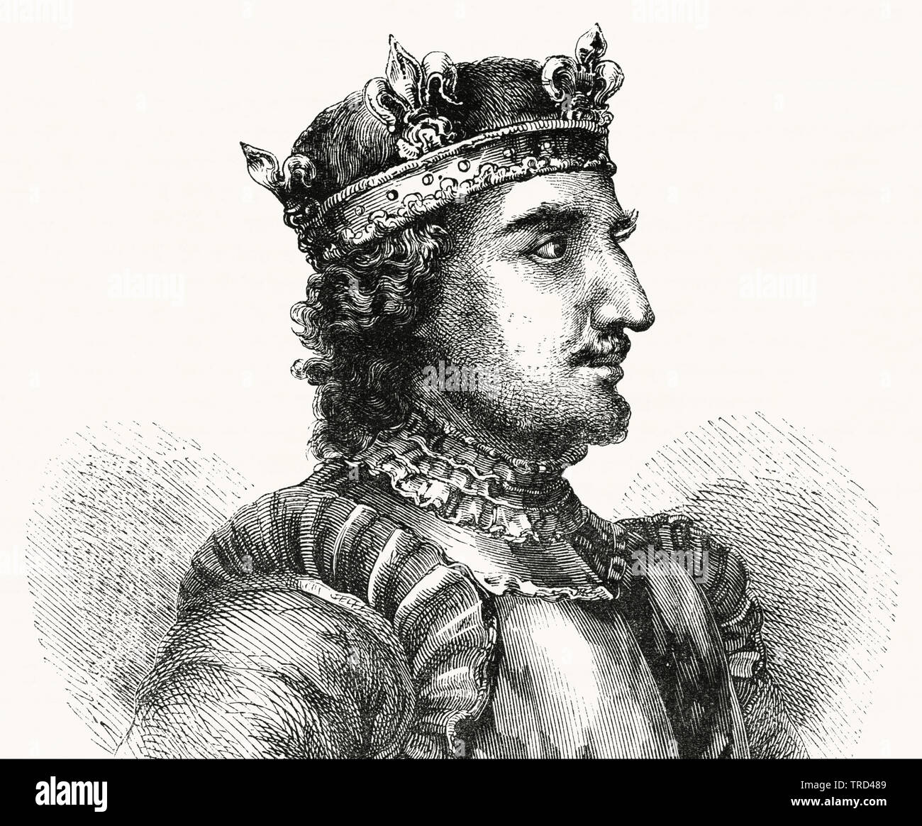 Stephen, Illustration from John Cassell's Illustrated History of England, Vol. I from the earliest period to the reign of Edward the Fourth, Cassell, Petter and Galpin, 1857 - Stock Image