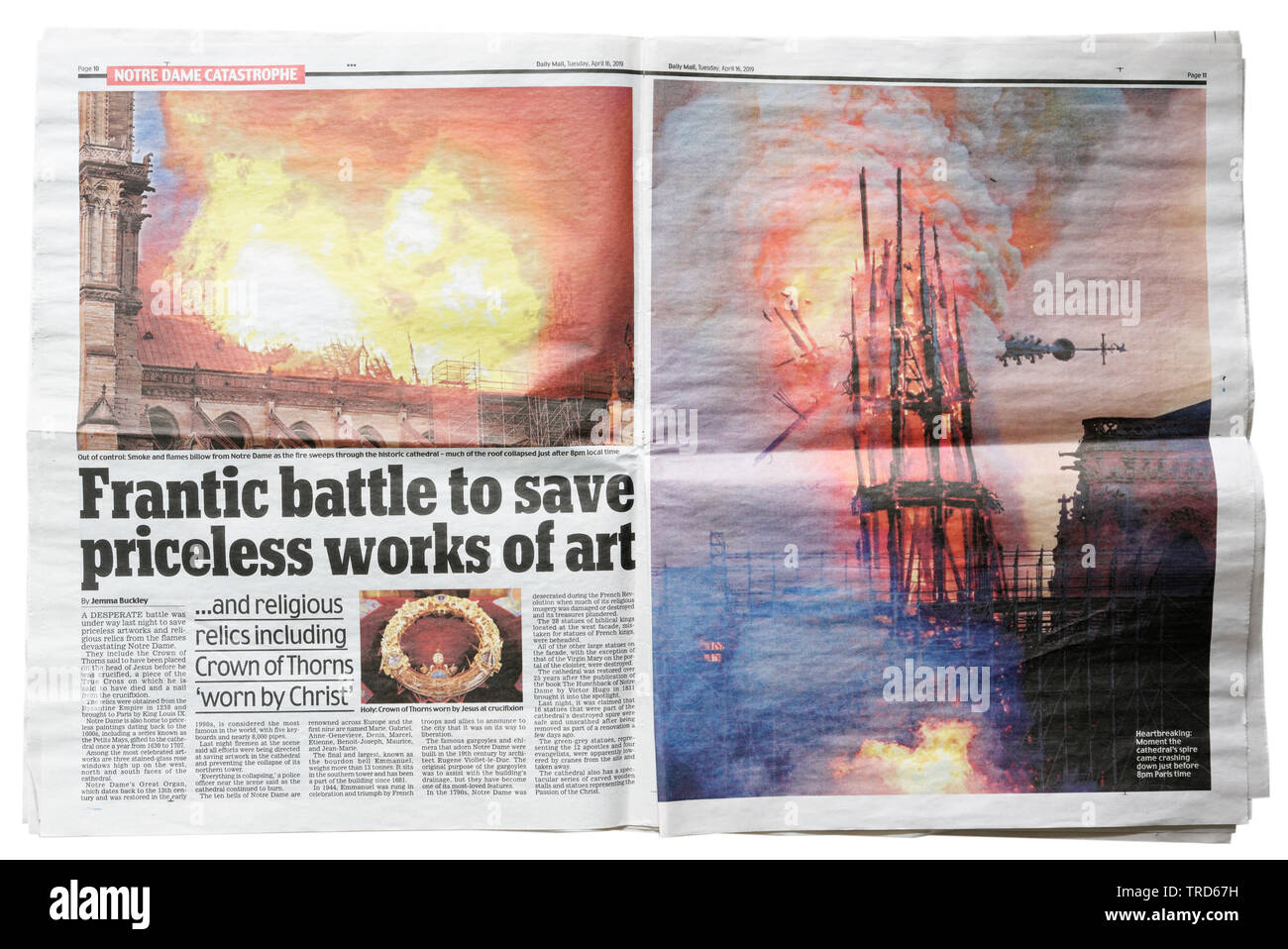 Inside double page spread in the Daily Mail from April 16 2019 with details of the Notre Dame de Paris fire - Stock Image