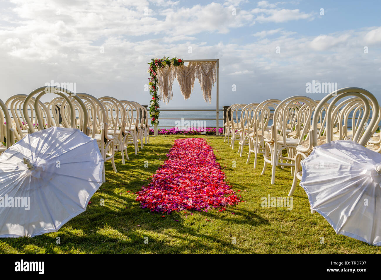 Wedding Arch In Boho Style Near The Ocean For Ceremony Decorated