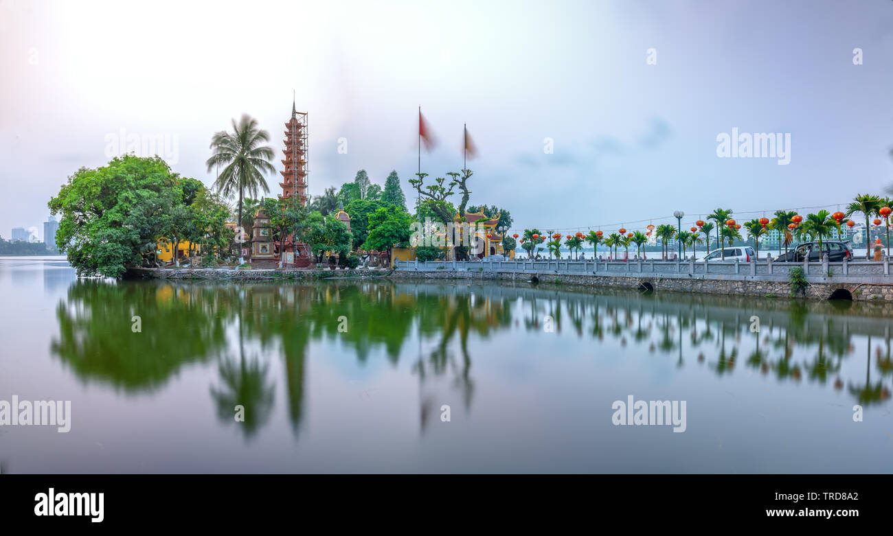 Tran Quoc pagoda at sunset on the West Lake peninsula oldest temple in Hanoi, Vietnam Stock Photo
