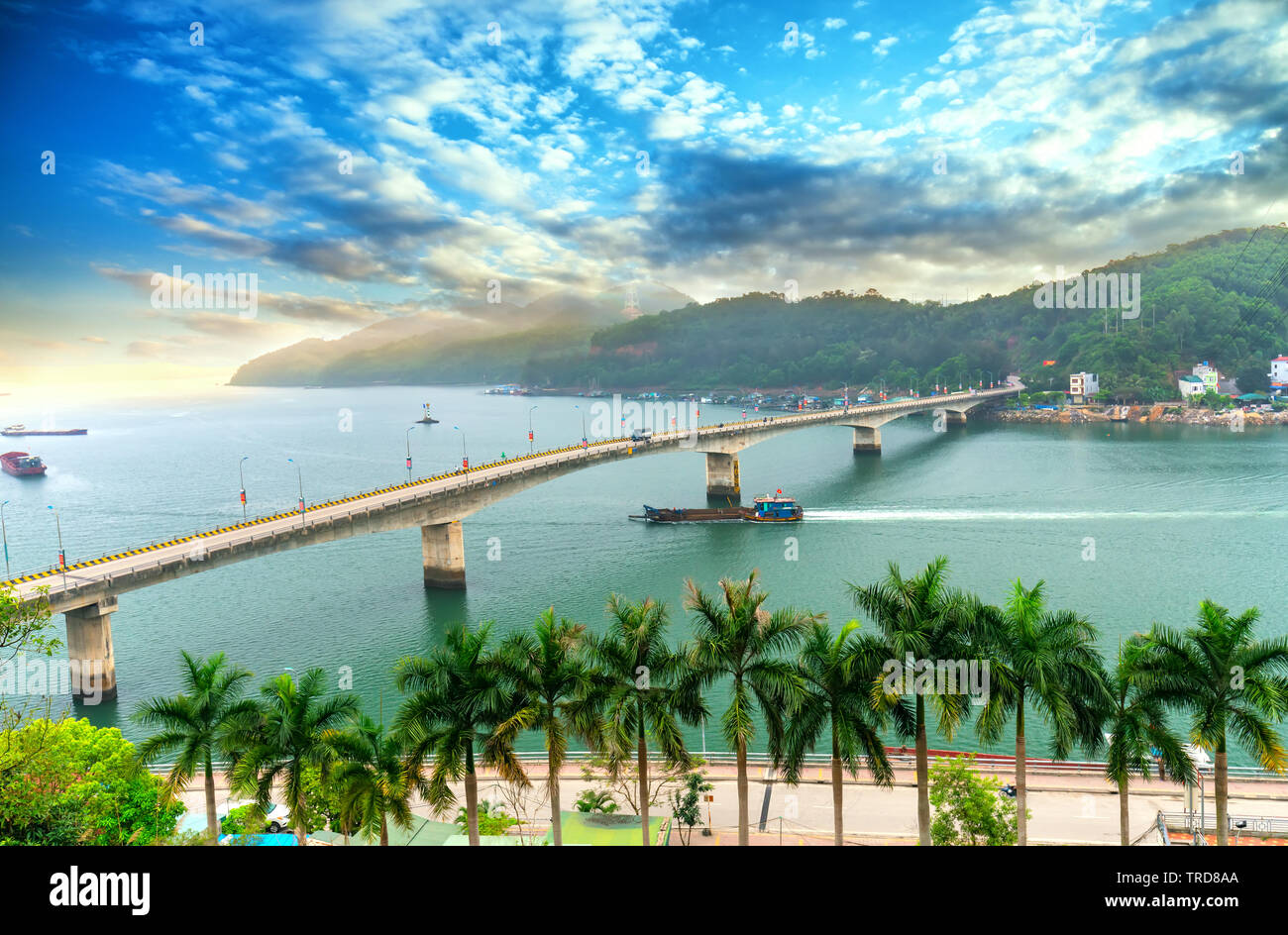 Van Don bridge connects Cam Pha City to Van Don peninsula in Quang Ninh, Vietnam Stock Photo
