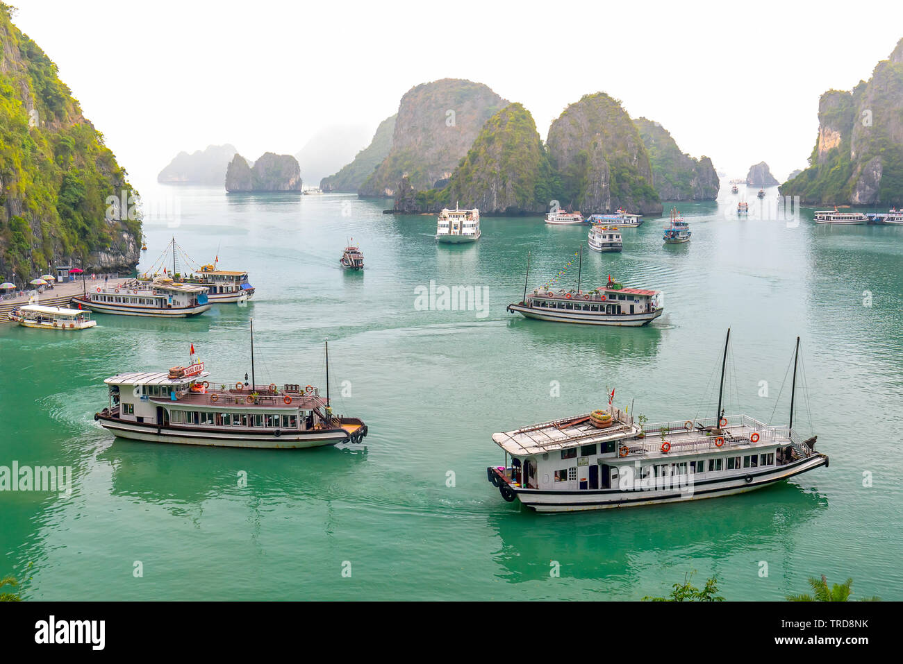 Beautiful landscape Halong Bay view from adove the Bo Hon Island. Halong Bay is the UNESCO World Heritage Site, it is a beautiful natural wonder Stock Photo