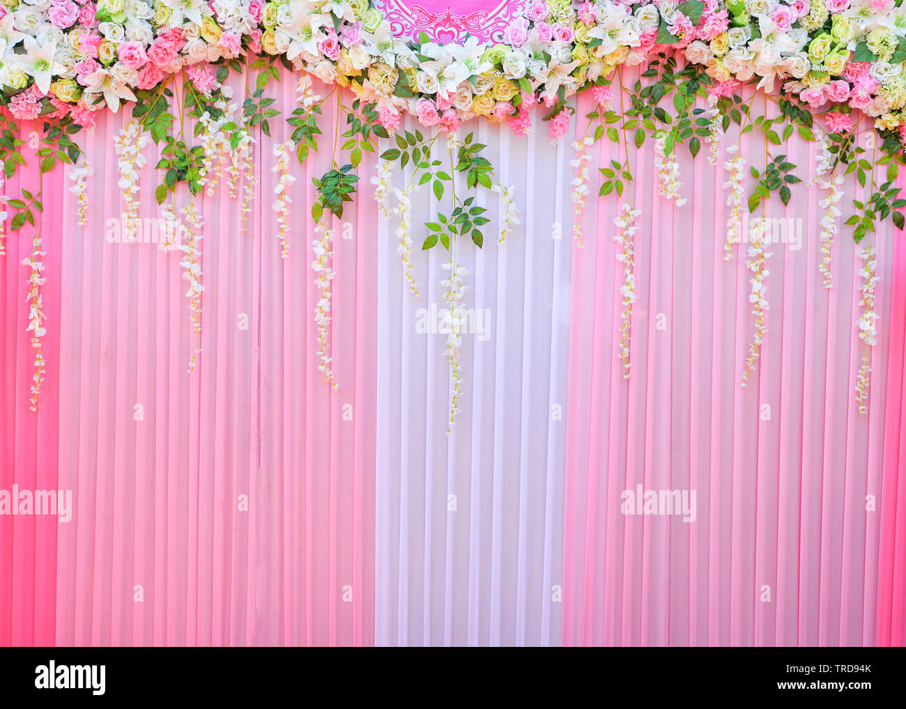 Backdrop Wedding Background Romantic Flower And Green Leaf