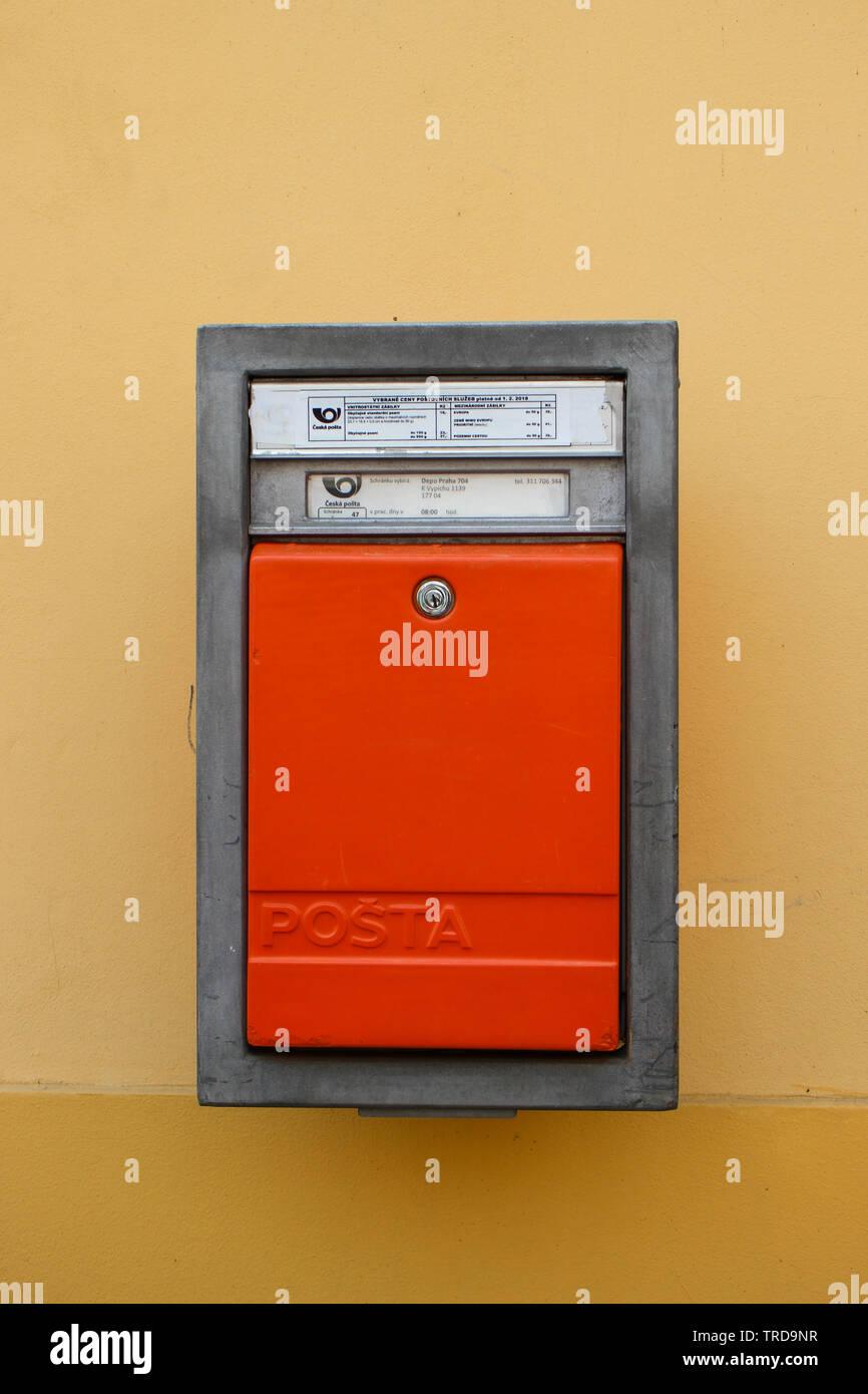 Česká pošta letter box in Prague, Czech Republic - Stock Image