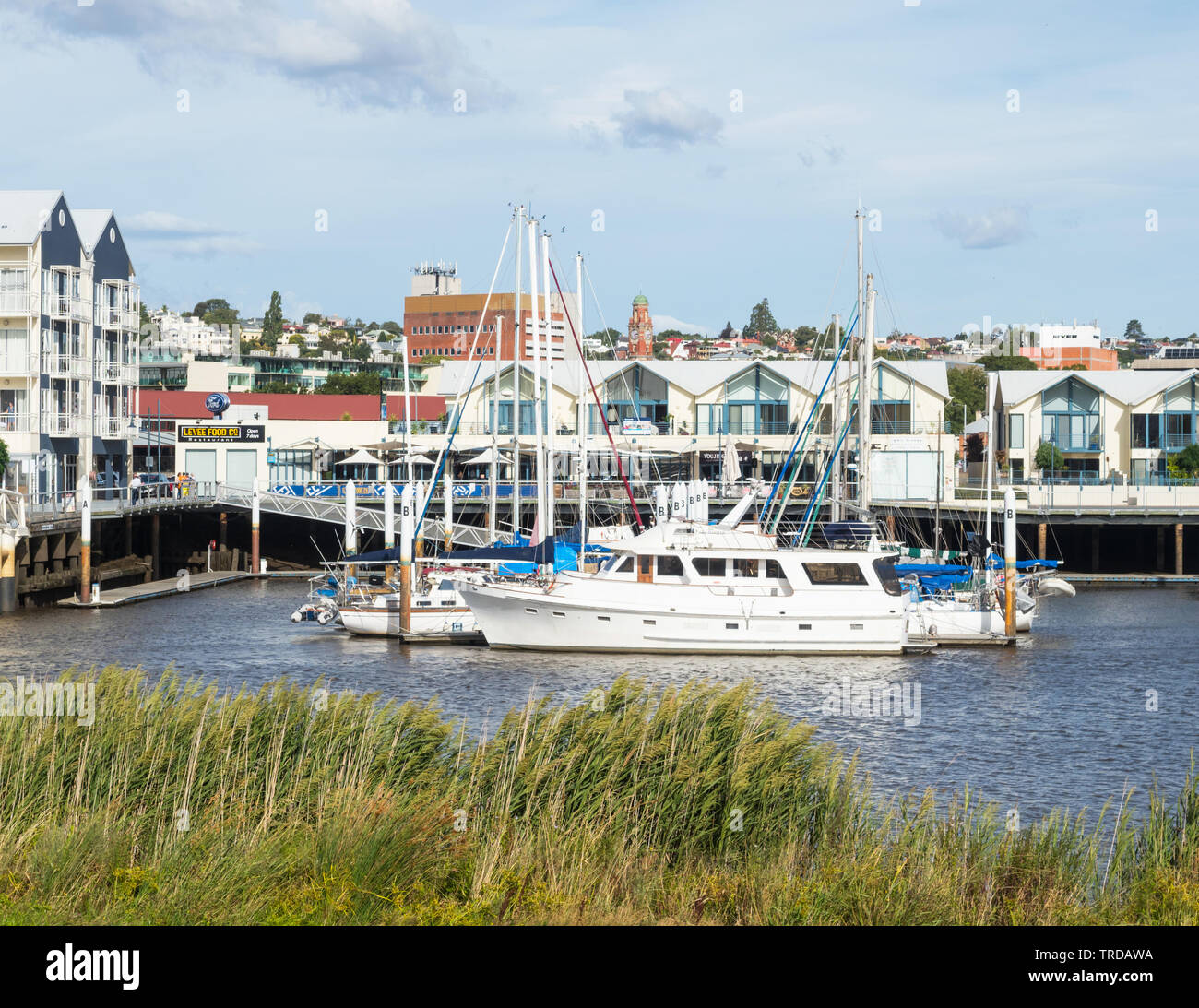 TASMANIA, AUSTRALIA - FEBRUARY 15, 2019: Pleasure craft moored in the North Esk River at Launceston Seaport in Tasmania, Australia. Stock Photo