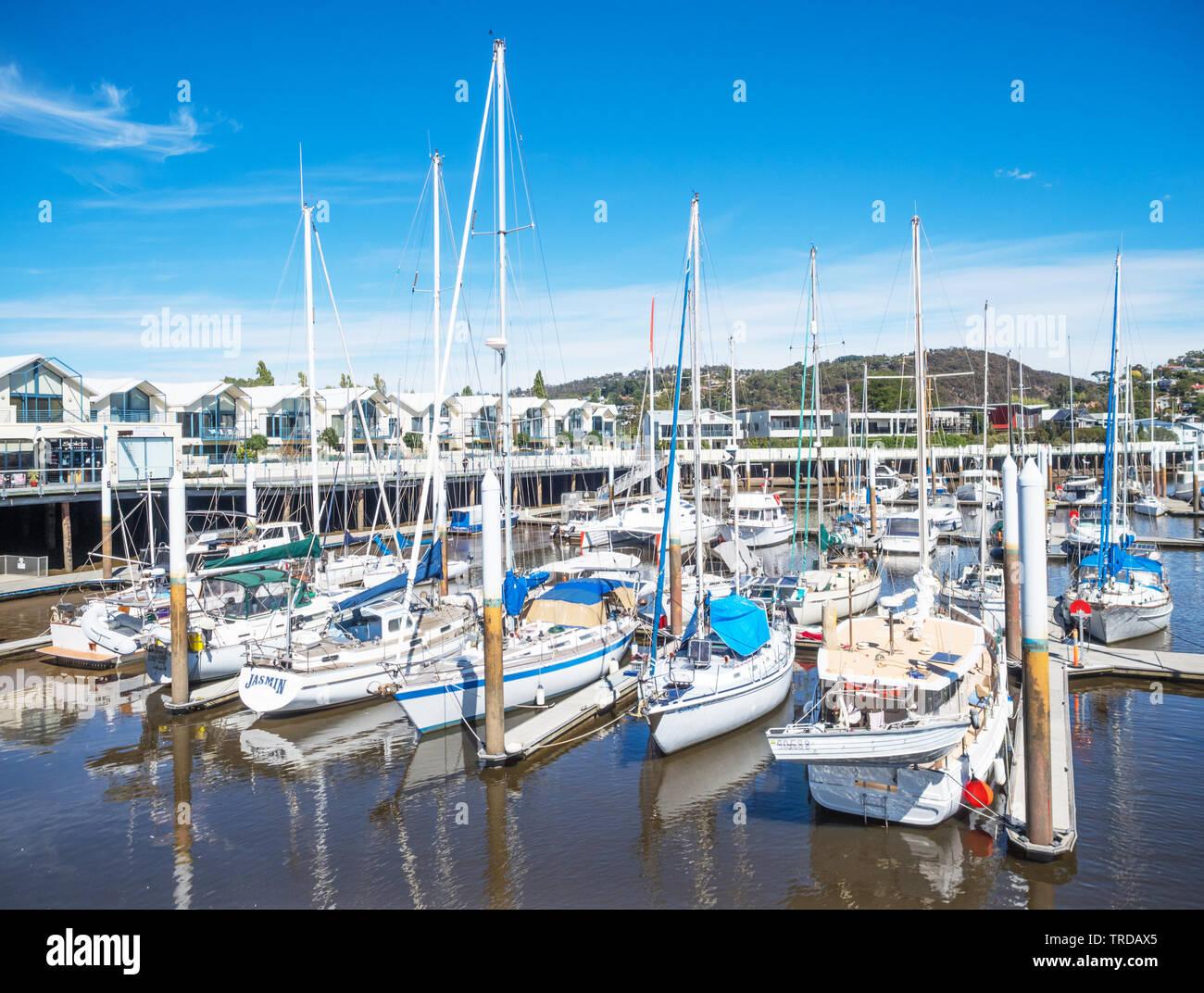 TASMANIA, AUSTRALIA - FEBRUARY 13, 2019: Pleasure craft moored in the North Esk River at Launceston Seaport in Tasmania, Australia. Stock Photo