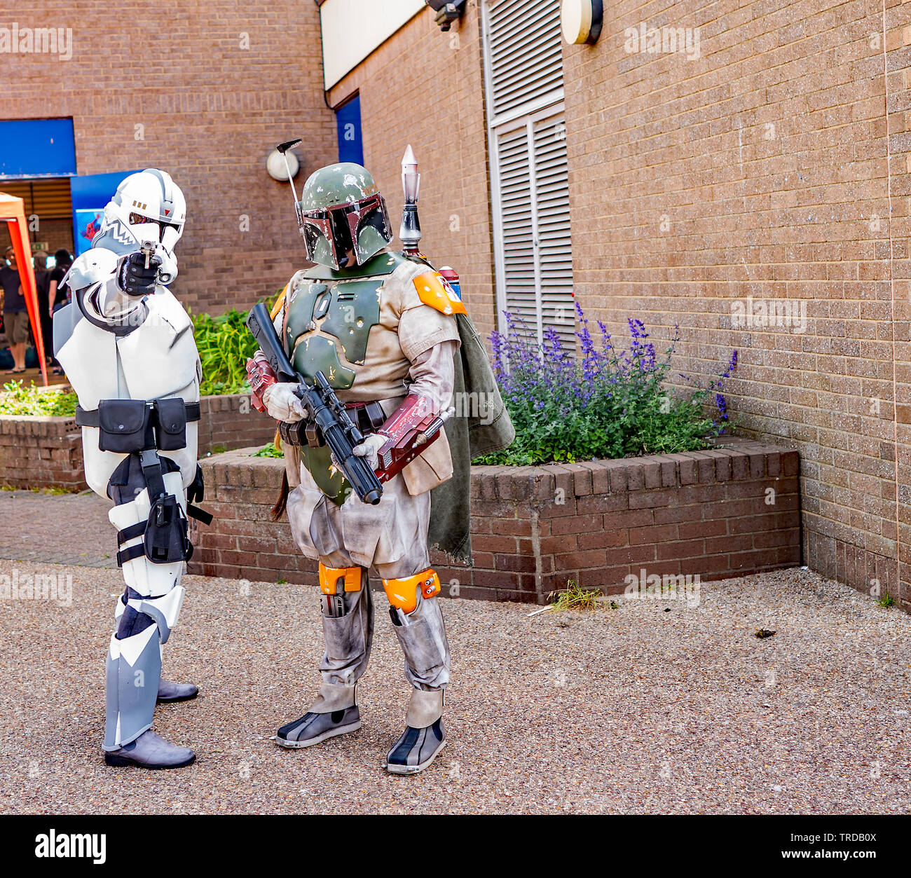 Great Yarmouth Comicon 2019 – Portrait of two storm troopers from the hit Star Wars saga outside the Comicon event in the seaside town of Great Yarmou - Stock Image