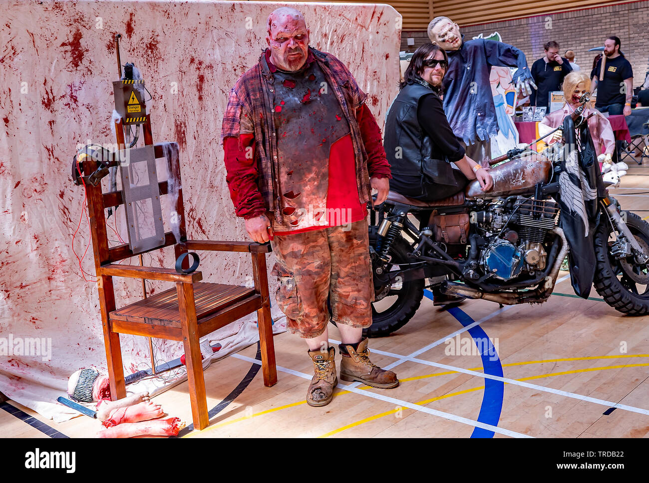 Great Yarmouth Comicon 2019 – A man dressed up as a zombie at the Comicon event in the seaside town of Great Yarmouth, Norfolk - Stock Image