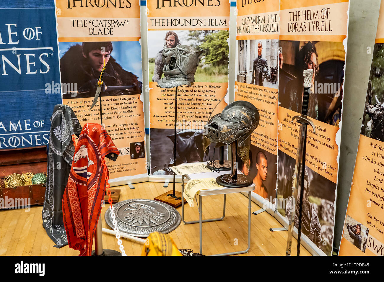 Great Yarmouth Comicon 2019 – A Game of Thrones exhibit at the Comicon held in the seaside town of Great Yarmouth, Norfolk - Stock Image