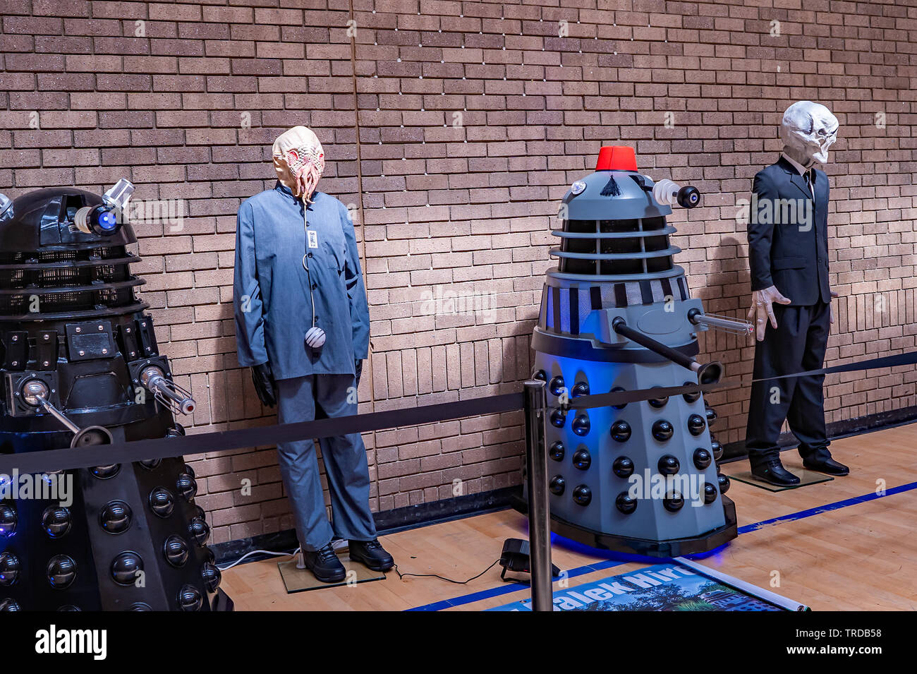 Great Yarmouth Comicon 2019 – Props from the Dr Who TV series on show at the Comicon in the seaside town of Great Yarmouth, Norfolk - Stock Image