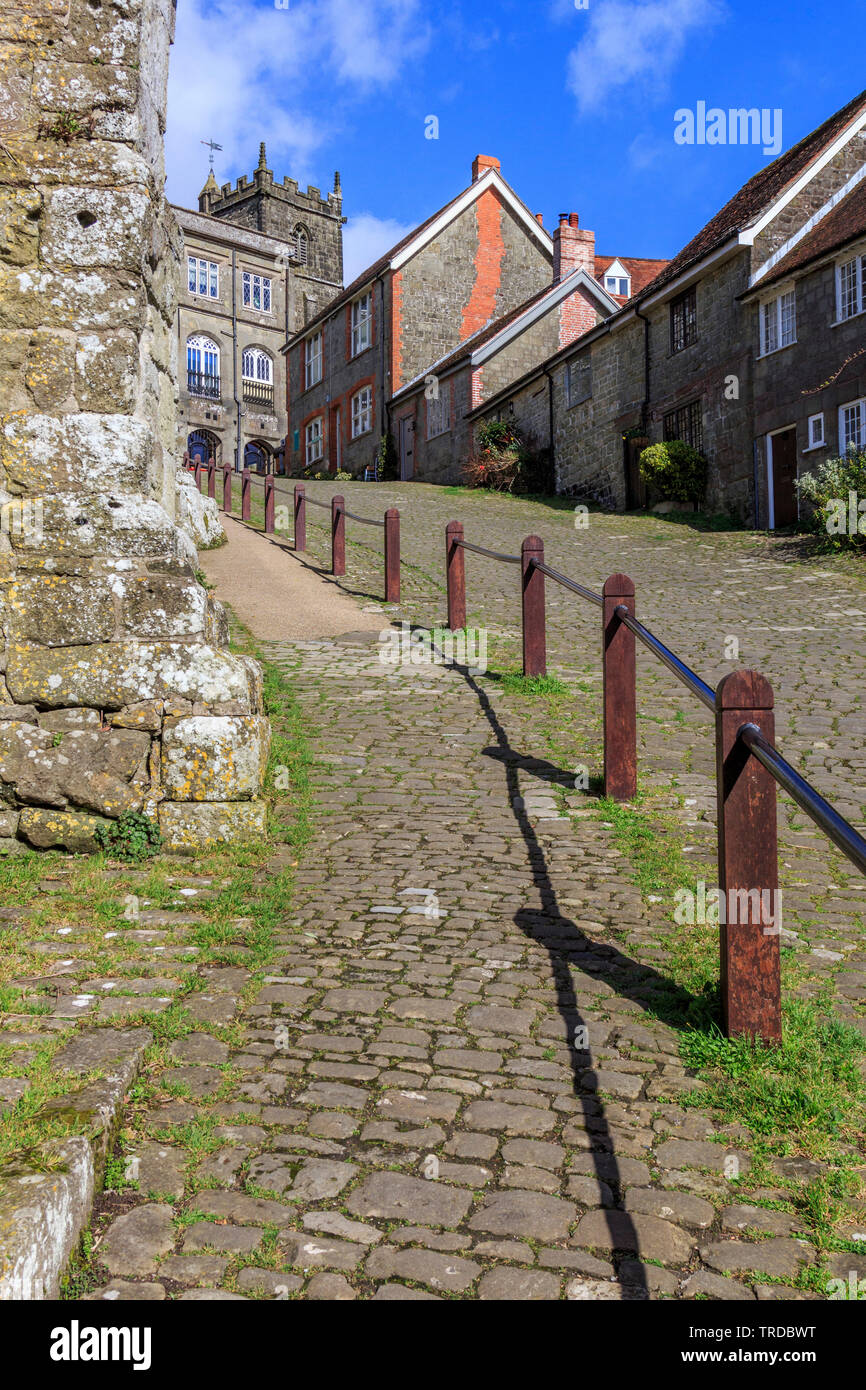 gold hill, home of the hovis bread advert on tv, shaftesbury, town, dorset, england, uk - Stock Image