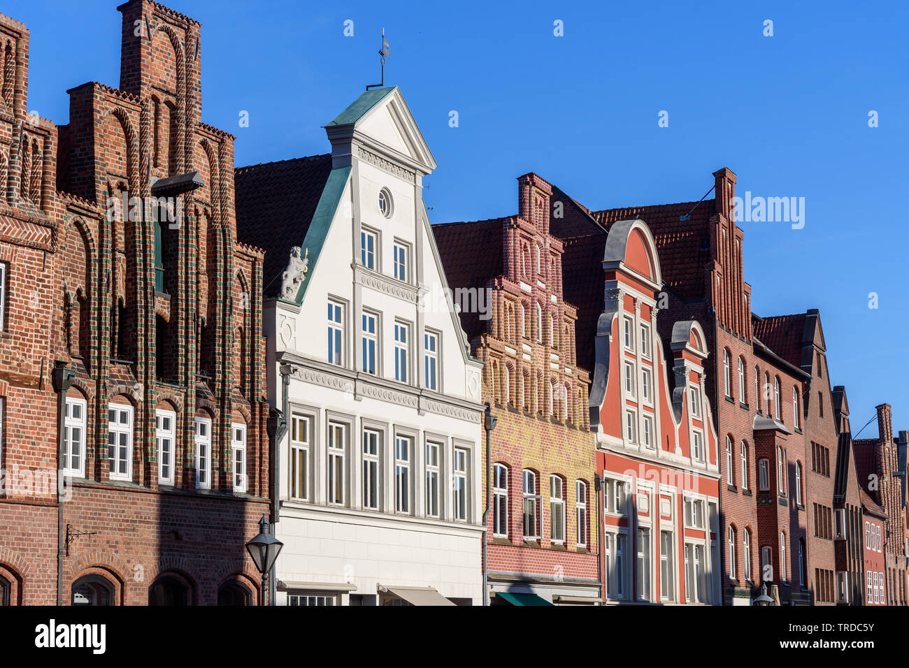 Medieval old brick buildings in Luneburg. Lower Saxony. Germany Stock Photo