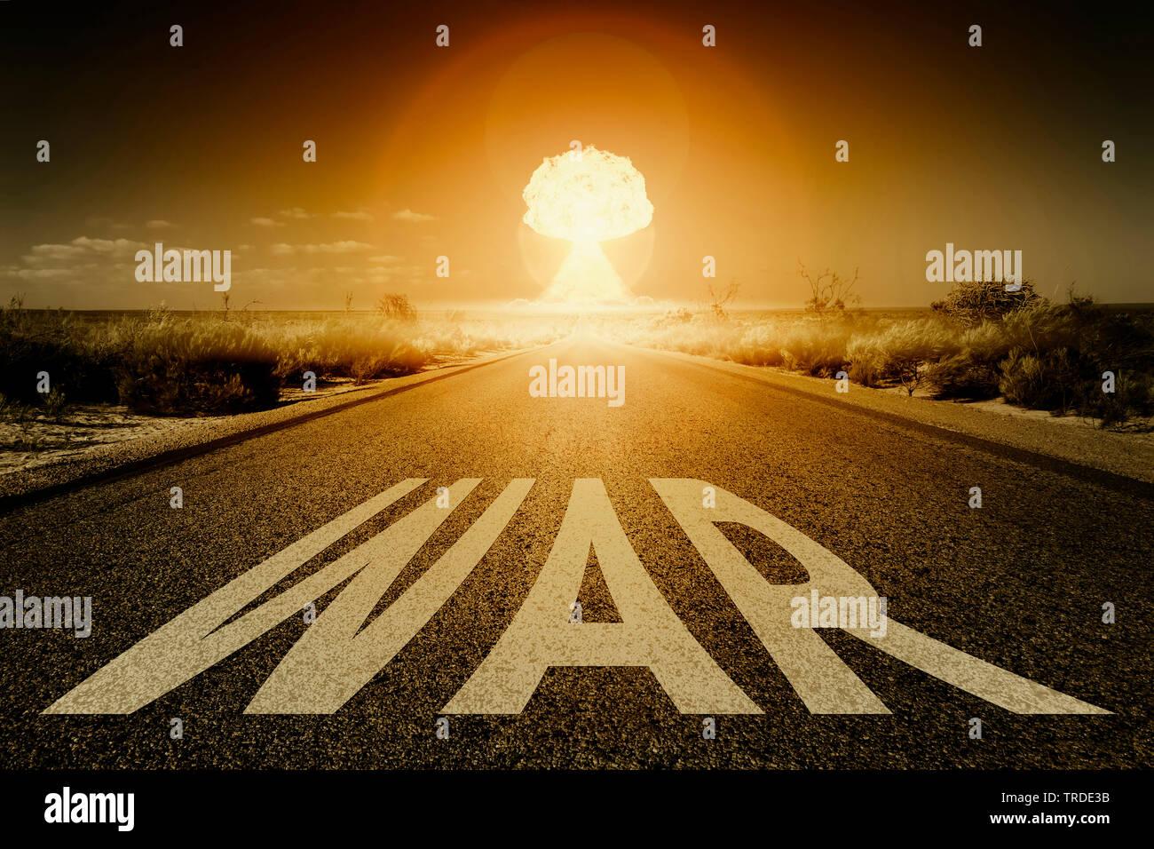 3D-Computergrafik, geradliniger Strassenabschnitt als Symbol fuer der Weg zum definiertem Ziel mit Aufschrift WAR (Krieg) | 3D computer graphic, strai - Stock Image