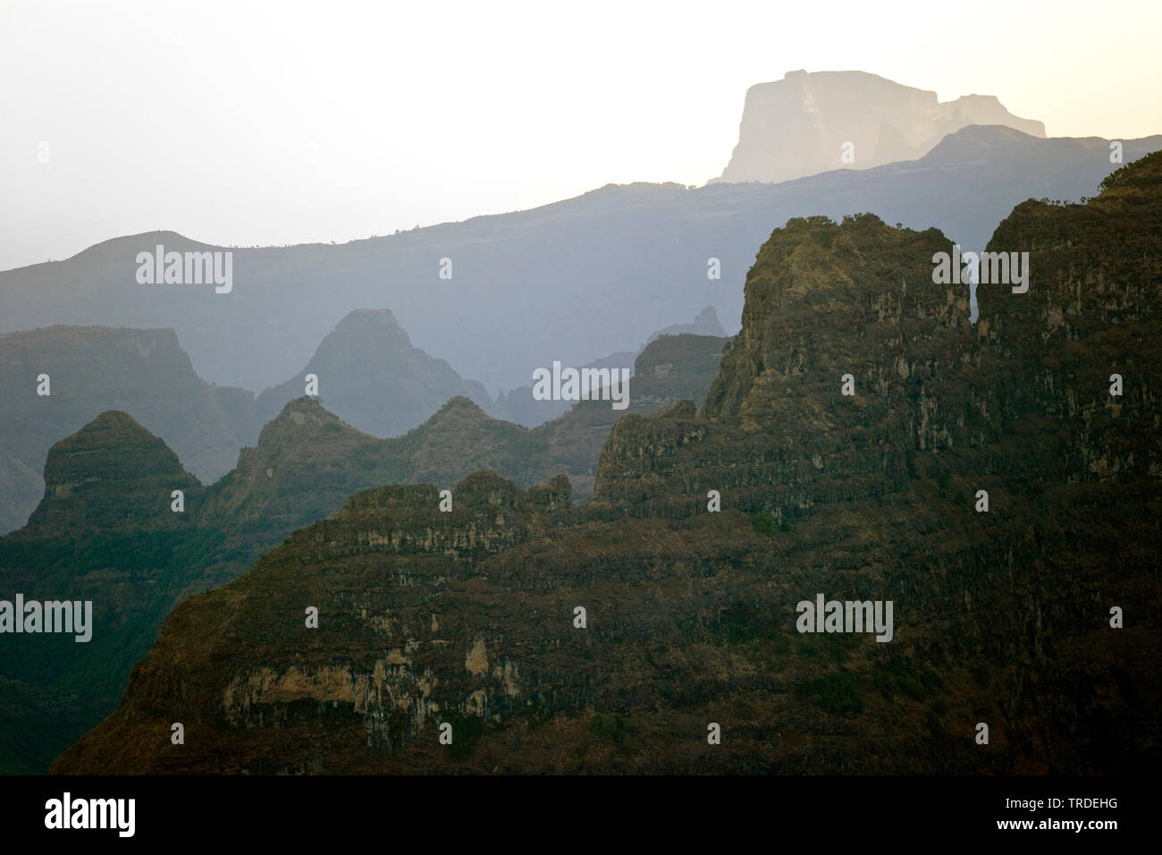 Simien-Berge im Abendlicht, Aethiopien, Simien Mountains Nationalpark   Simien Mountains in evening light, Ethiopia, Simien Mountains National Park   - Stock Image