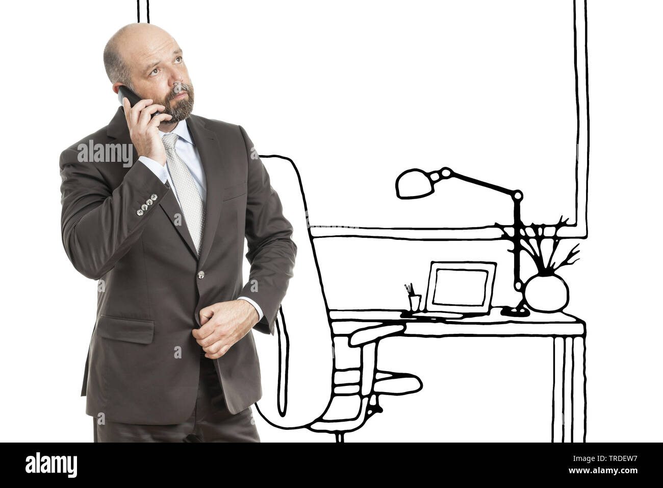 Portrait of a Businessman making a call with his mobile phone with a sketch of an office in the background - Stock Image