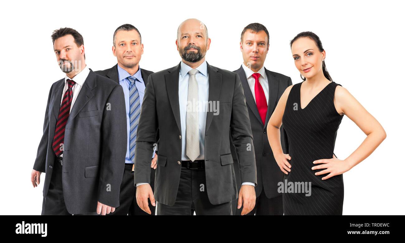 Portraet einer Gruppe von Geschaeftsleuten (4 Maenner und eine Frau) stehen zusammen vor weissem Hintergund | Portrait of a group of  Businesspeople ( - Stock Image