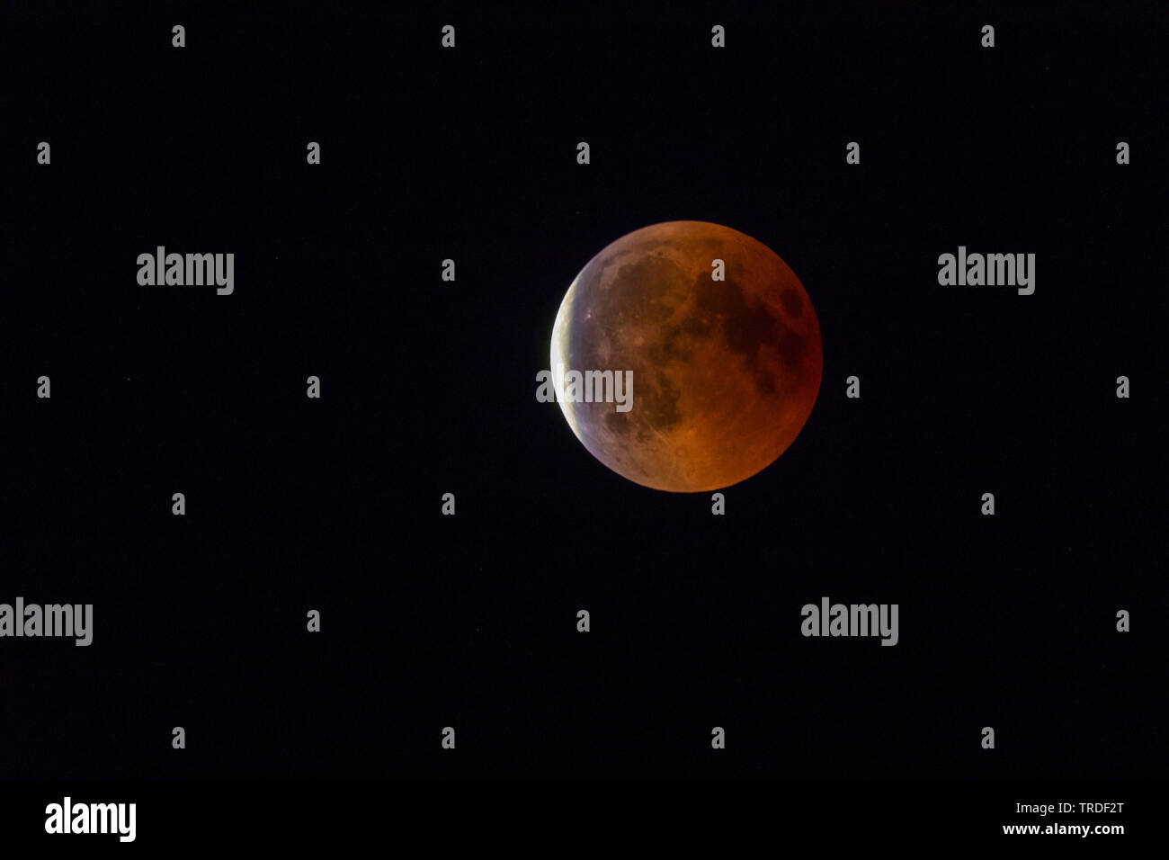 totale Mondfinsternis, 95 %, 27.7.2018 Vollmond, Blutmond, Deutschland, Bayern | total lunar eclipse, 95 %, 27.07.2018, full moon, Germany, Bavaria | - Stock Image