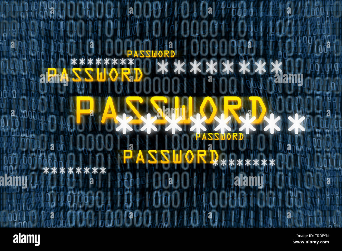 password and binary code on a display - Stock Image