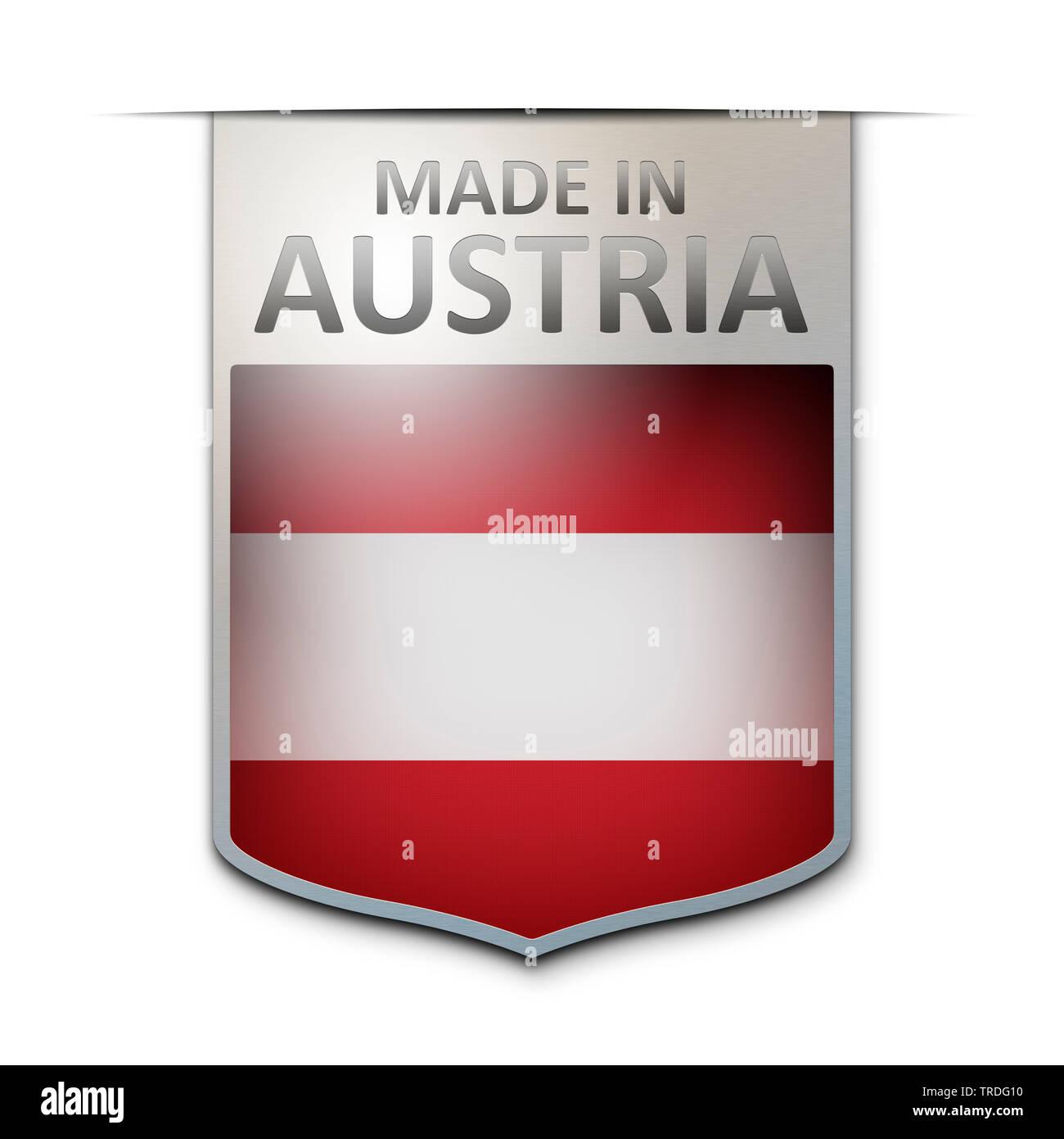 Abzeichen mit der Aufschrift: Made in Austria, Oesterreich | badge with the inscription Made in Austria, Austria | BLWS502968.jpg [ (c) blickwinkel/Mc - Stock Image