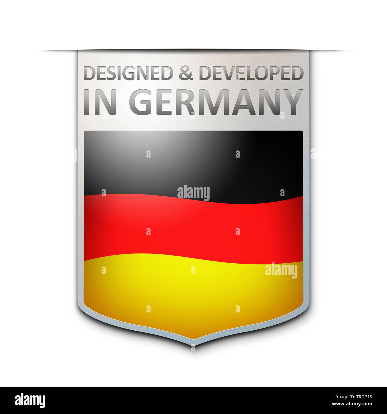 Abzeichen mit der Aufschrift: Designed and Developed in Germany, Deutschland | badge with the inscription Designed and Developed in Germany, Germany | - Stock Image