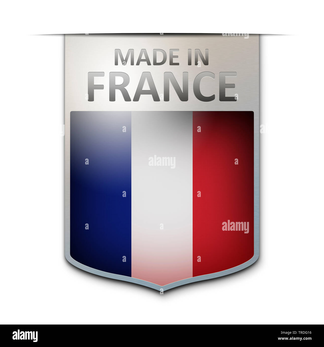 Abzeichen mit der Aufschrift: Made in France, Frankreich | badge with the inscription Made in France, France | BLWS502969.jpg [ (c) blickwinkel/McPHOT - Stock Image