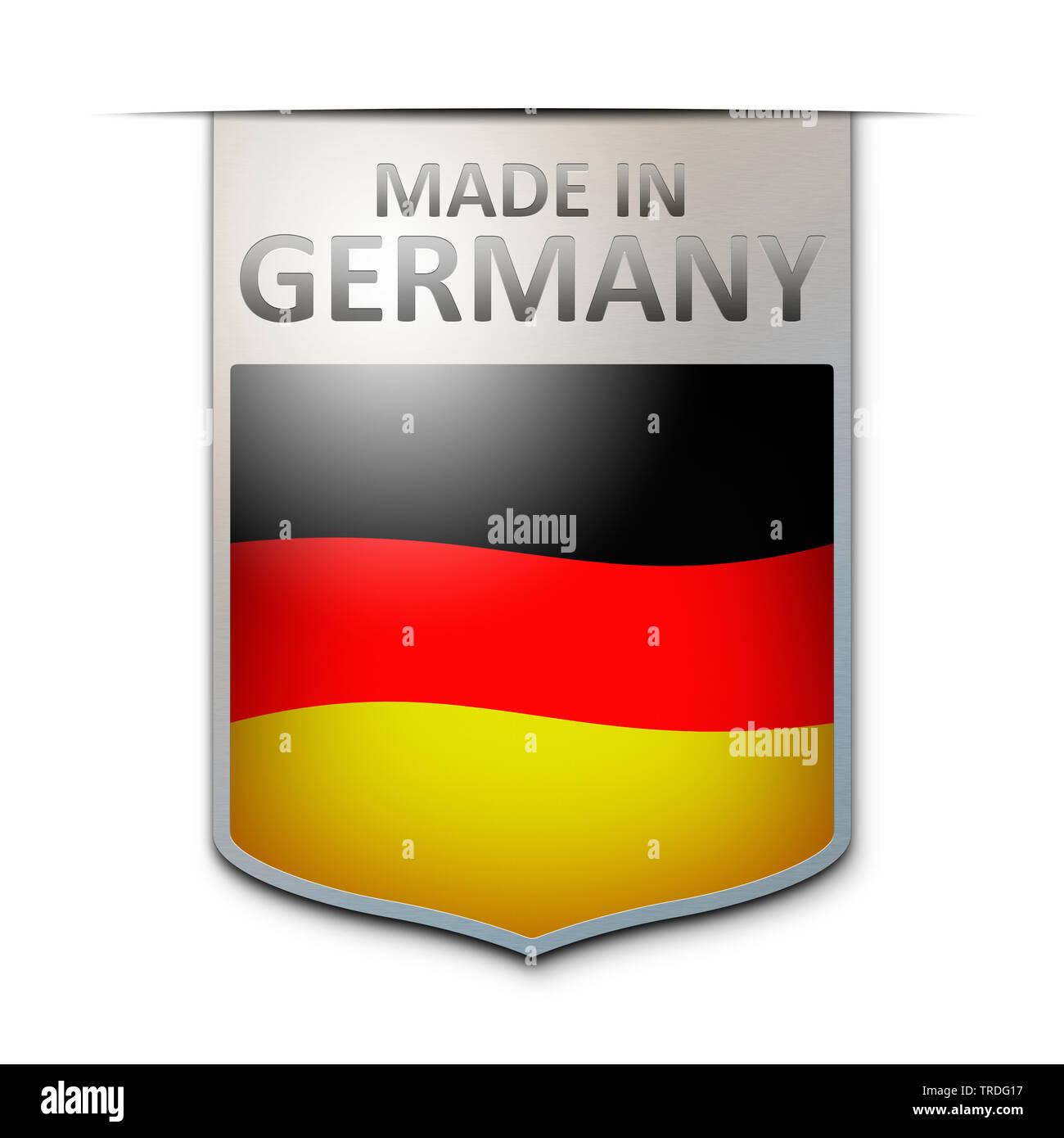 Abzeichen mit der Aufschrift: Made in Germany, Deutschland | badge with the inscription Made in Germany, Germany | BLWS502966.jpg [ (c) blickwinkel/Mc - Stock Image