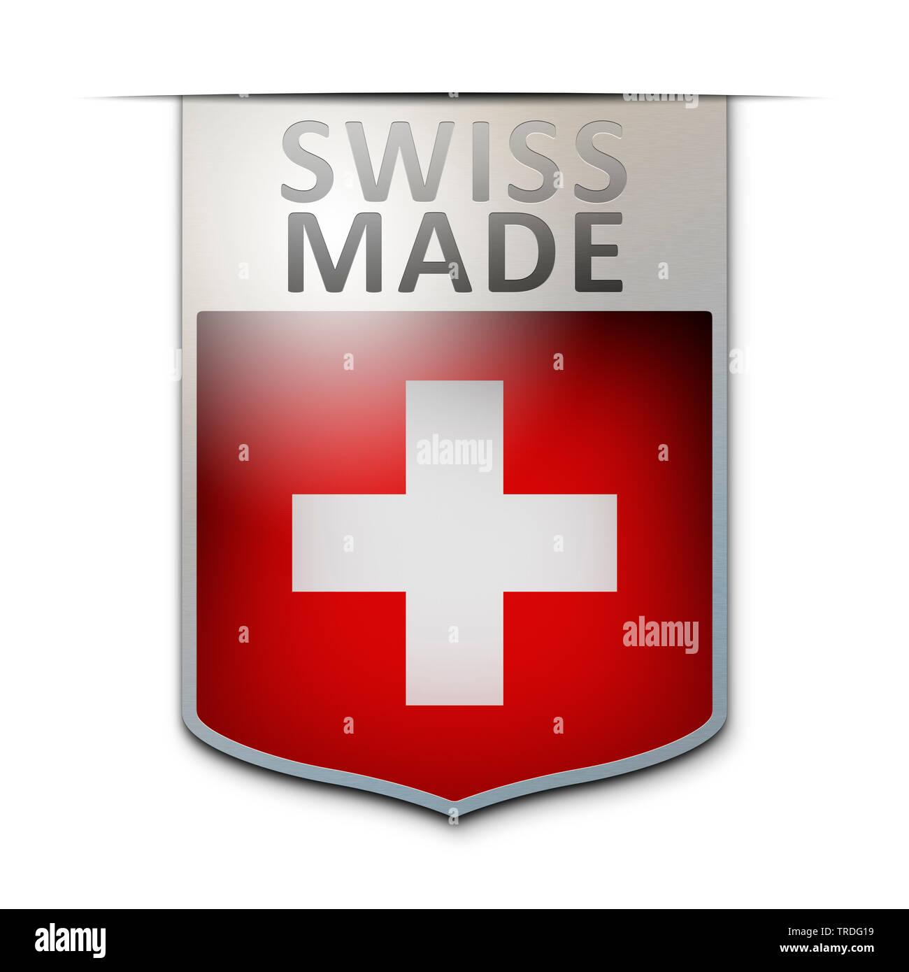Abzeichen mit der Aufschrift: Swiss Made, Schweiz | badge with the inscription Swiss Made, Switzerland | BLWS502970.jpg [ (c) blickwinkel/McPHOTO/M. G - Stock Image