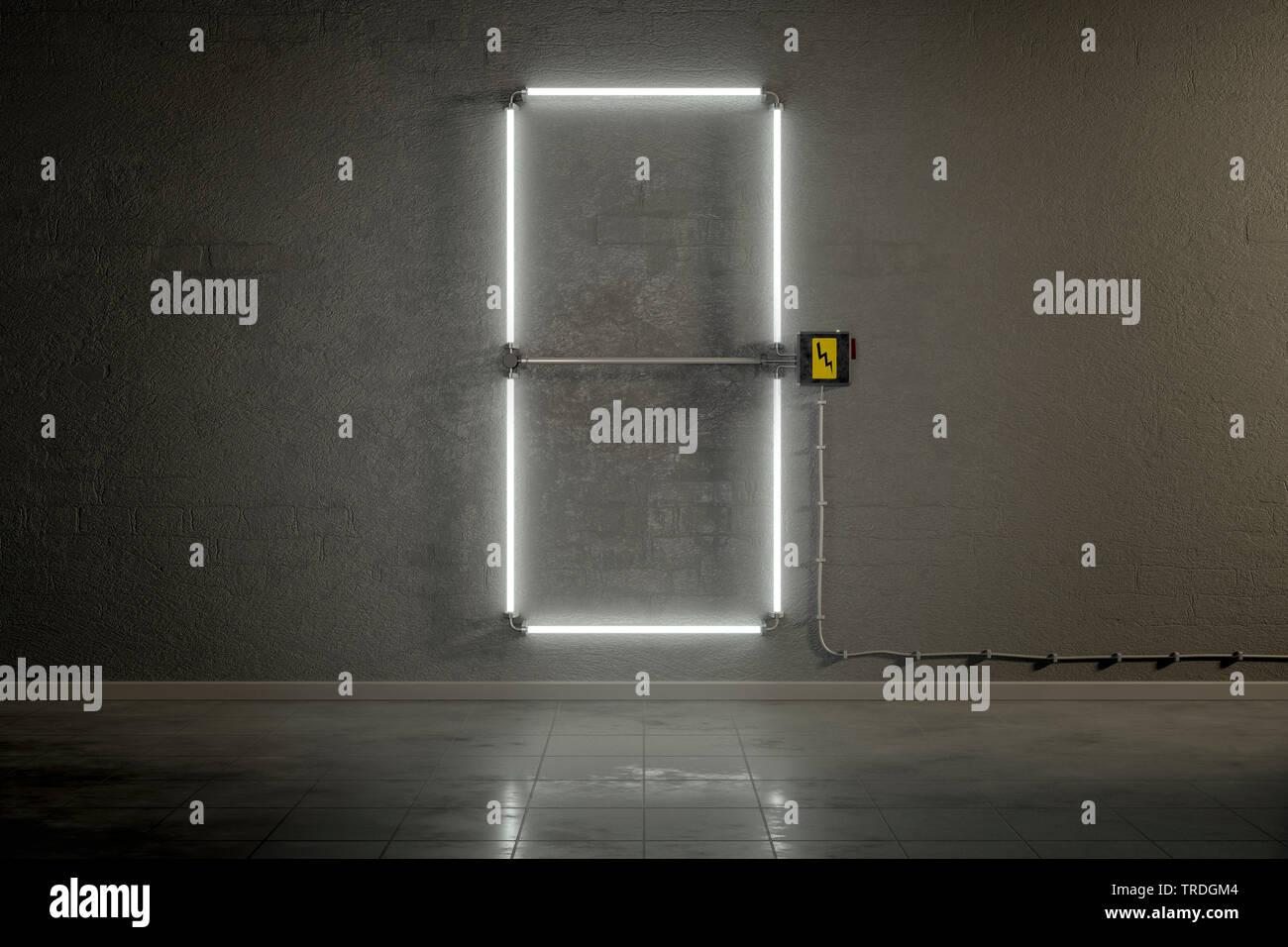 3D-Computergrafik, Einstellige Zaehler-Anzeige aus Neonlampen die Zahl 0 darstellend    3D computer graphic, one-digit counter built out of neon tubes - Stock Image