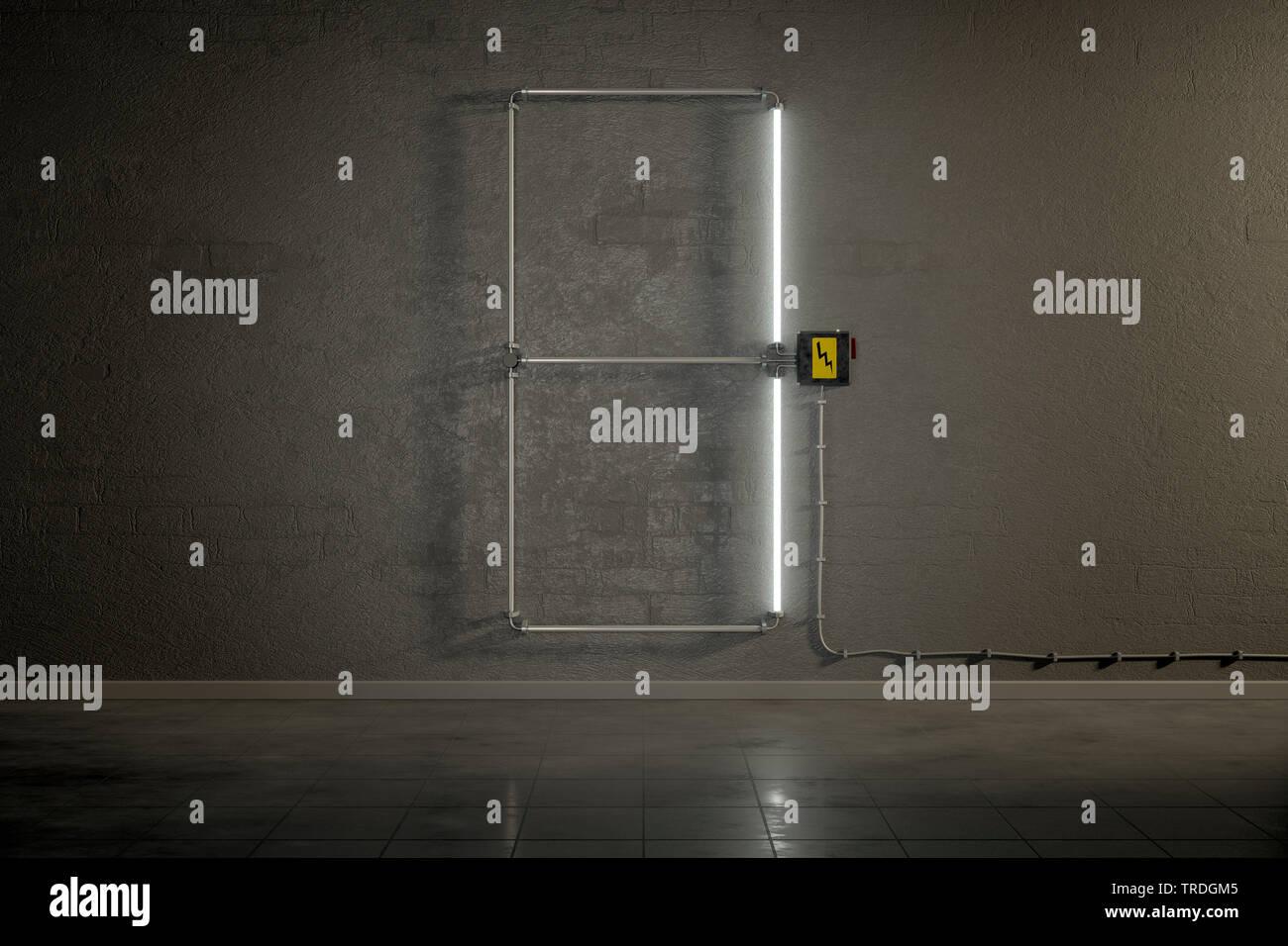 3D-Computergrafik, Einstellige Zaehler-Anzeige aus Neonlampen die Zahl 1 darstellend    3D computer graphic, one-digit counter built out of neon tubes - Stock Image