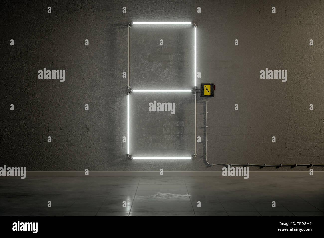 3D-Computergrafik, Einstellige Zaehler-Anzeige aus Neonlampen die Zahl 2 darstellend    3D computer graphic, one-digit counter built out of neon tubes - Stock Image