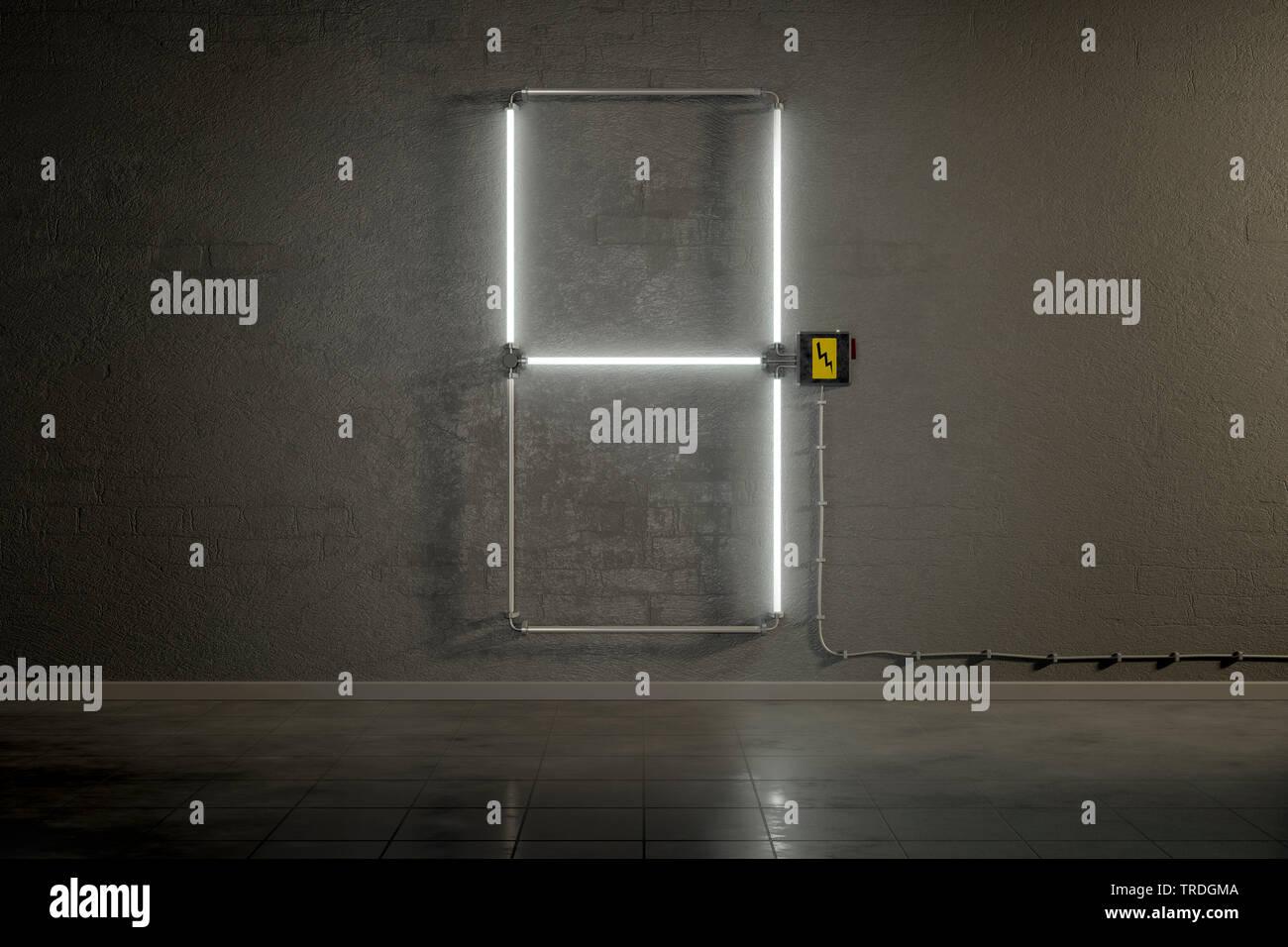 3D-Computergrafik, Einstellige Zaehler-Anzeige aus Neonlampen die Zahl 4 darstellend    3D computer graphic, one-digit counter built out of neon tubes - Stock Image