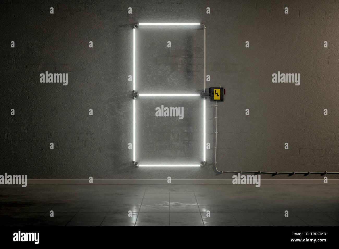 3D-Computergrafik, Einstellige Zaehler-Anzeige aus Neonlampen die Zahl 6 darstellend    3D computer graphic, one-digit counter built out of neon tubes - Stock Image