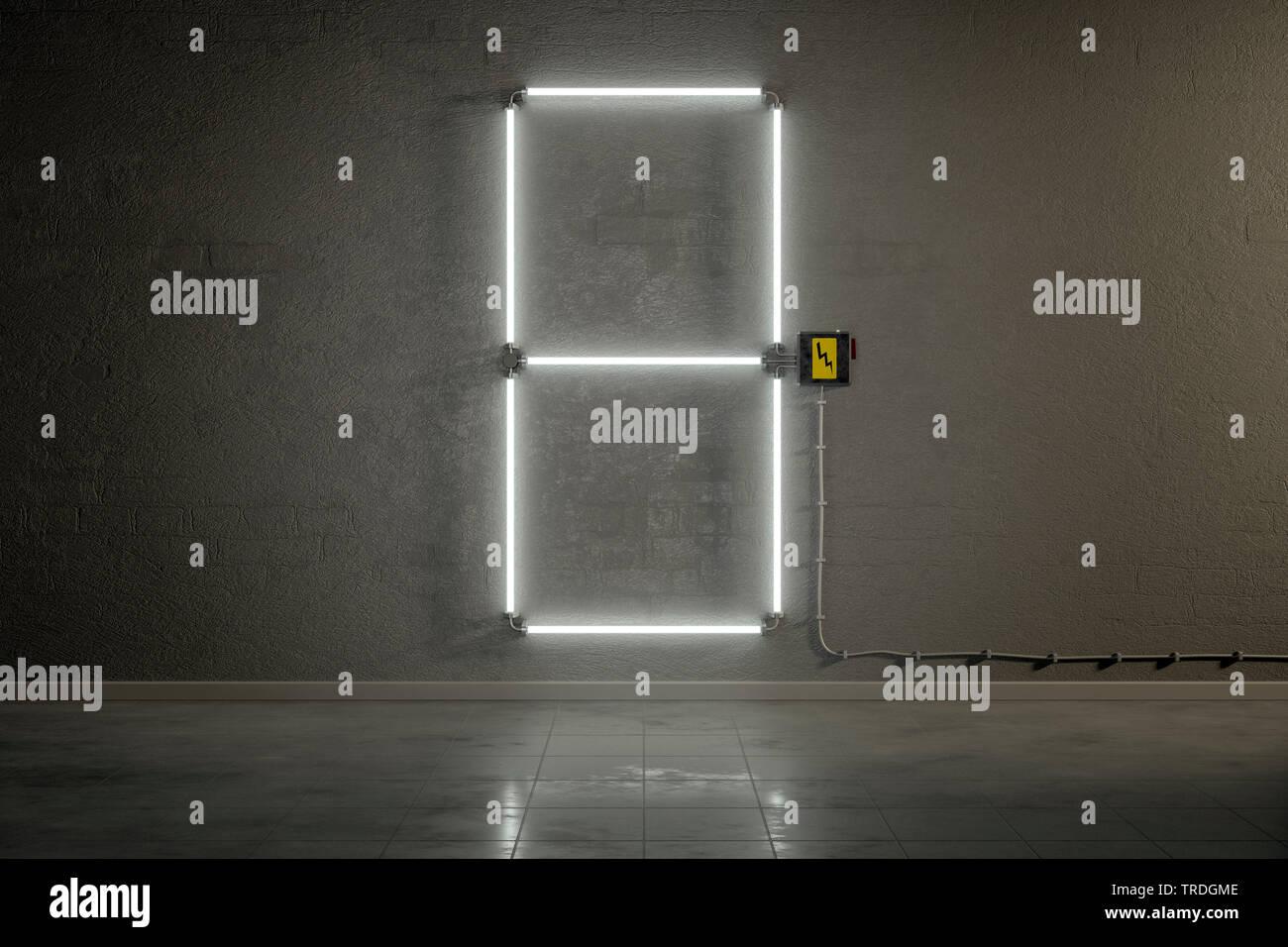 3D-Computergrafik, Einstellige Zaehler-Anzeige aus Neonlampen die Zahl 8 darstellend    3D computer graphic, one-digit counter built out of neon tubes - Stock Image